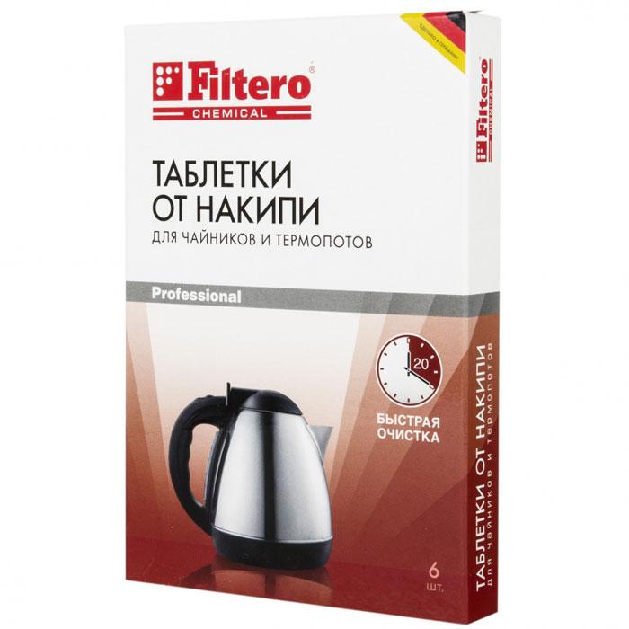 Filtero Таблетки для очистки чайников от накипи, 6 шт6.295-875.0Таблетки от накипи Filtero предназначены специально для чайников и термопотов. Улучшенная формула позволяет быстро удалить даже сильно окаменевший известковый налет. Очищение ваших бытовых приборов от накипи и известковых отложений продлевает срок эксплуатации ваших приборов и предотвращает различные повреждения. Способ применения: наполнить чайник на 3/4 объема водой и вскипятить. Поместить таблетку Filtero в чайник и оставить на 20 минут. При сильном окаменении известкового налета использовать две таблетки. Раствор вылить, оборудование тщательно прополоскать чистой водой.Таблеткиподходятдлявсех приборов с металлическим нагревательнымэлементом (материал самого прибора значения не имеет).Состав: сульфаминовая кислота, сульфат натрия, карбонат натрия, адипиноваякислота, бикарбонат натрия.