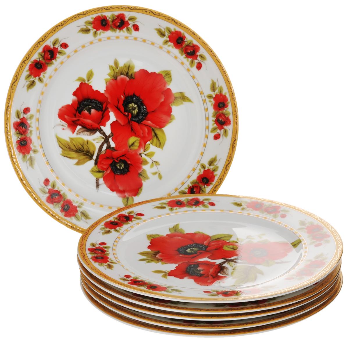 Набор обеденных тарелок Elan Gallery Маки, диаметр 23 см, 6 шт54 009312Набор Elan Gallery Маки состоит из 6 обеденных тарелок, выполненных из высококачественной керамики. Изделия предназначены для красивой сервировки различных блюд и украшены цветочным рисунком. Набор сочетает в себе стильный дизайн с максимальной функциональностью. Оригинальность оформления придется по вкусу и ценителям классики, и тем, кто предпочитает утонченность и изящность.Не использовать в микроволновой печи. Диаметр тарелки (по верхнему краю): 23 см.Высота тарелки: 1,7 см.