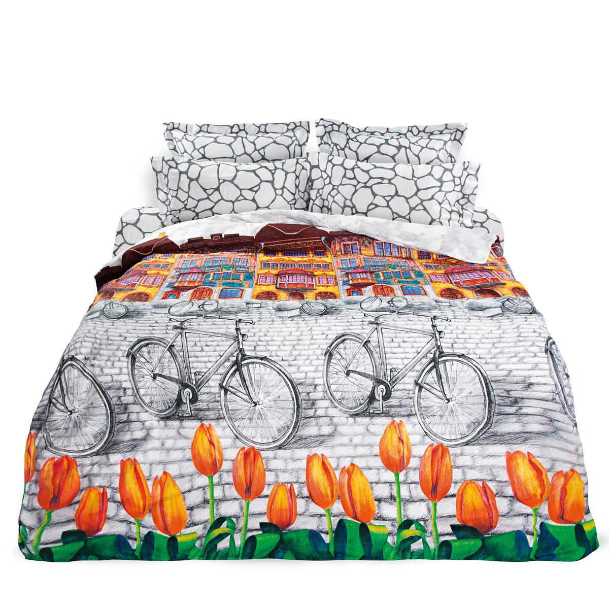 Комплект белья Унисон Голландский уголок, 1,5 спальное, наволочки 70 х 70, цвет: серо-белый. 2769136250ППостельное белье торговой марки «Унисон Биоматин» - это домашний текстиль премиум класса с эксклюзивными дизайнами в разнообразных стилистических решениях. Комплекты данной серии выполнены из ткани «биоматин» - это 100% хлопок высочайшего качества, мягкий, тонкий и легкий, но при этом прочный, долговечный и очень практичный, с повышенным показателем износостойкости, обладающий грязе- и пылеотталкивающими свойствами, долго сохраняющий чистоту и свежесть постельного белья, гипоаллергенный.