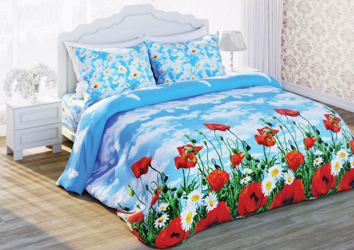 Комплект белья Любимый дом Солнечный мак, 2-х спальное, наволочки 70 х 70, цвет: голубой. 285755331089Постельное белье торговой марки «Любимый дом» - это идеальное сочетание доступной цены и высокого качества продукции. Серия «Любимый дом 3D» выполнена в технике объемного трехмерного изображения: объемные рисунки очень яркие, насыщенные и реалистичные. Коллекция выполнена из традиционной отечественной бязи с высоким показателем износостойкости: такое постельное белье очень прочное и долговечное, не деформируется при стирках и прослужит долгие годы.