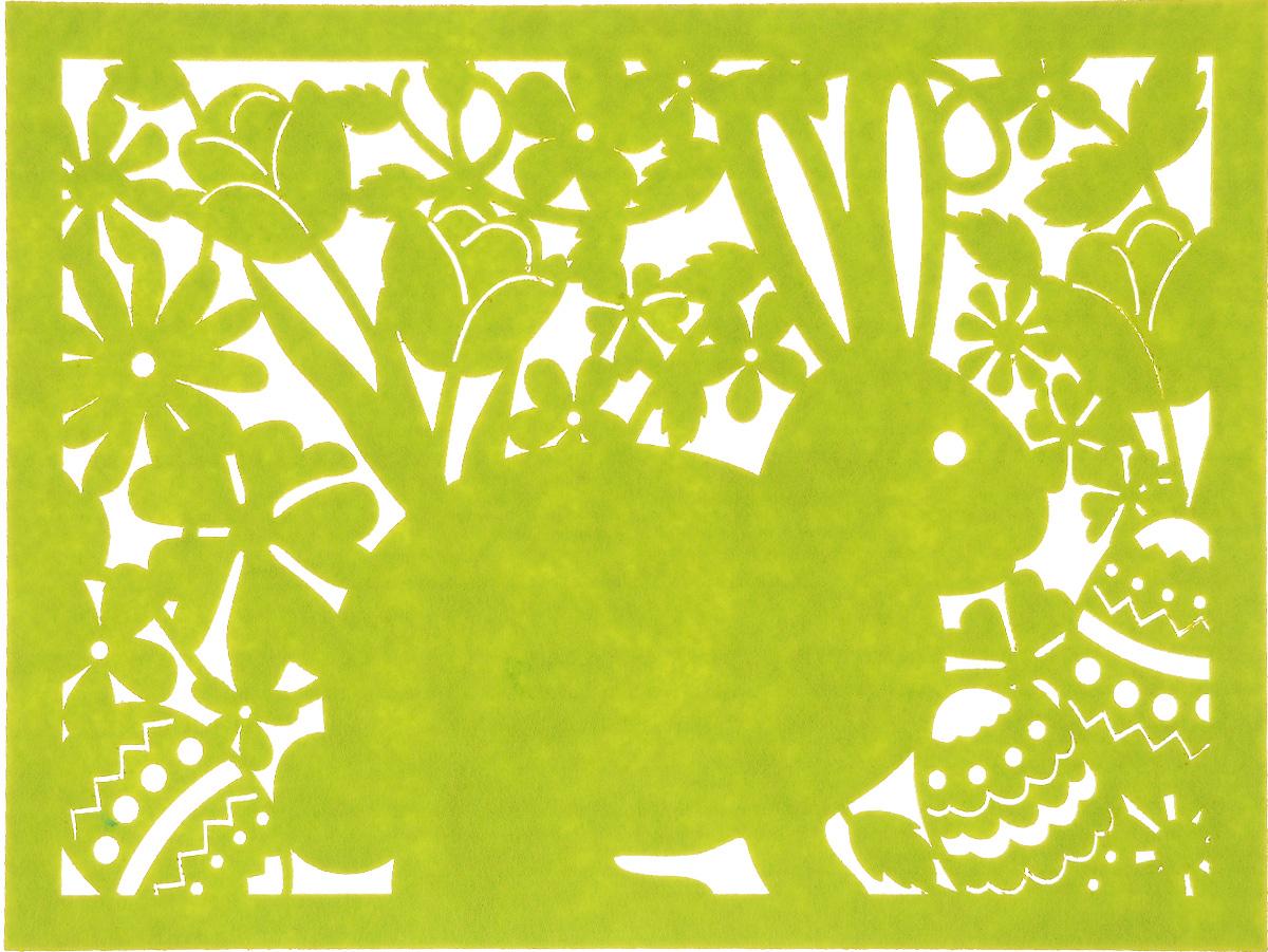 Салфетка Home Queen Кролик, цвет: зеленый, 40 х 30 смFS-91909Квадратная салфетка Home Queen Кролик изготовлена из фетра и оформлена изысканной перфорацией в виде кролика и цветочных узоров. Такая салфетка прекрасно подойдет для украшения интерьера кухни, она сбережет стол от высоких температур и грязи.