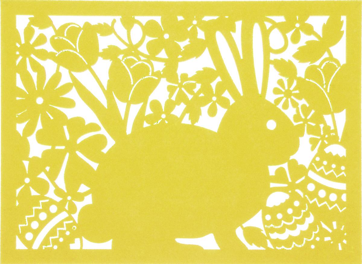 Салфетка Home Queen Кролик, цвет: желтый, 40 х 30 см115510Квадратная салфетка Home Queen Кролик изготовлена из фетра и оформлена изысканной перфорацией в виде кролика и цветочных узоров. Такая салфетка прекрасно подойдет для украшения интерьера кухни, она сбережет стол от высоких температур и грязи.