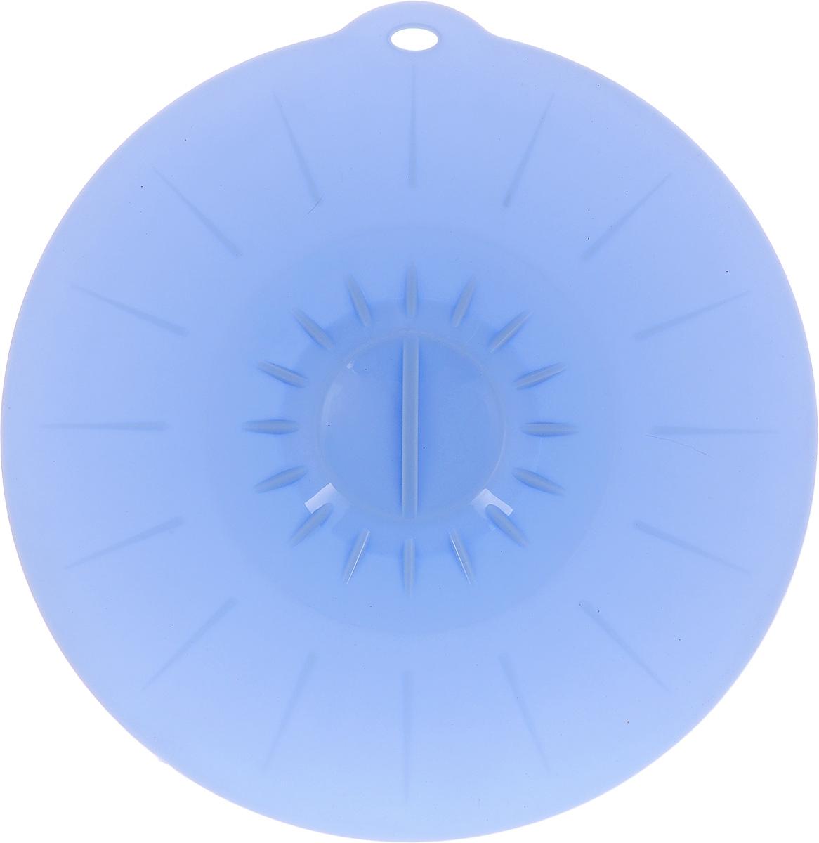 Крышка вакуумная Идея, силиконовая, цвет: голубой. Диаметр 26 см391602Вакуумная крышка Идея, выполненная из пищевого силикона, предназначена для герметичного закрытия любой посуды. Крышка плотно прилегает к краям емкости, ограничивая доступ воздуха внутрь, благодаря этому ваши продукты останутся свежими гораздо дольше. Основные свойства: - выдерживает температуру от -40°С до +240°С, - невозможно разбить, - легко моется, - не деформируется при хранении в свернутом виде, - имеет долгий срок службы, сохраняя свой первоначальный вид, - не выделяет вредных веществ при нагревании или охлаждении, - не впитывает запахи, - не вступает в химическую реакцию с продуктами, - безопасна при использовании в микроволновой печи, в духовке и морозильной камере.Такая крышка станет незаменимым помощником на вашей кухне.
