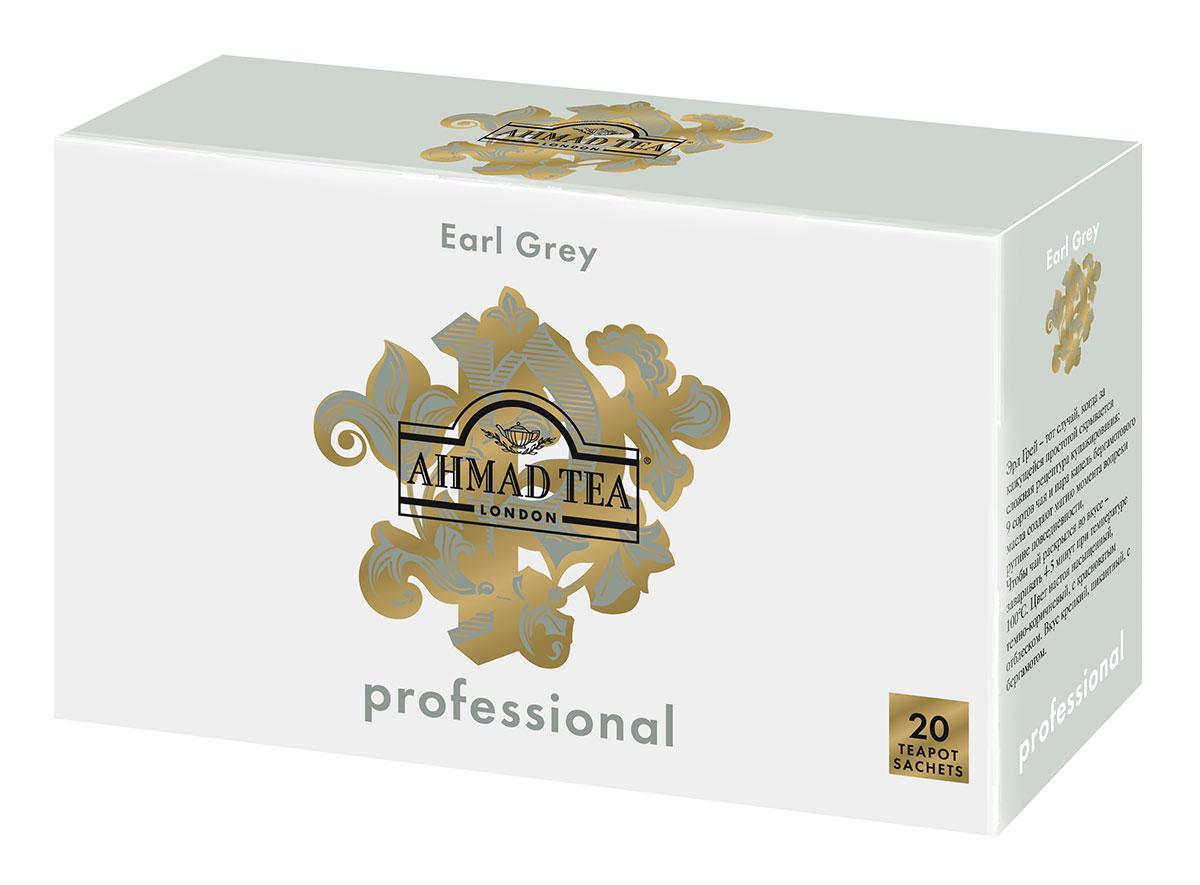 Ahmad Tea Professional Эрл Грей чай черный листовой с бергамотом в фильтр-пакетах для заваривания в чайнике, 20 шт0120710Эрл Грей – тот случай, когда за кажущейся простотой скрывается сложная рецептура купажирования: 9 сортов чая и пара капель бергамотового масла создают магию момента вопреки рутине повседневности. Чтобы чай раскрылся во вкусе – заваривать 4-5 минут при температуре 100°С. Цвет настоя насыщенный, темно-коричневый, с красноватым отблеском. Вкус крепкий, пикантный, с бергамотом.