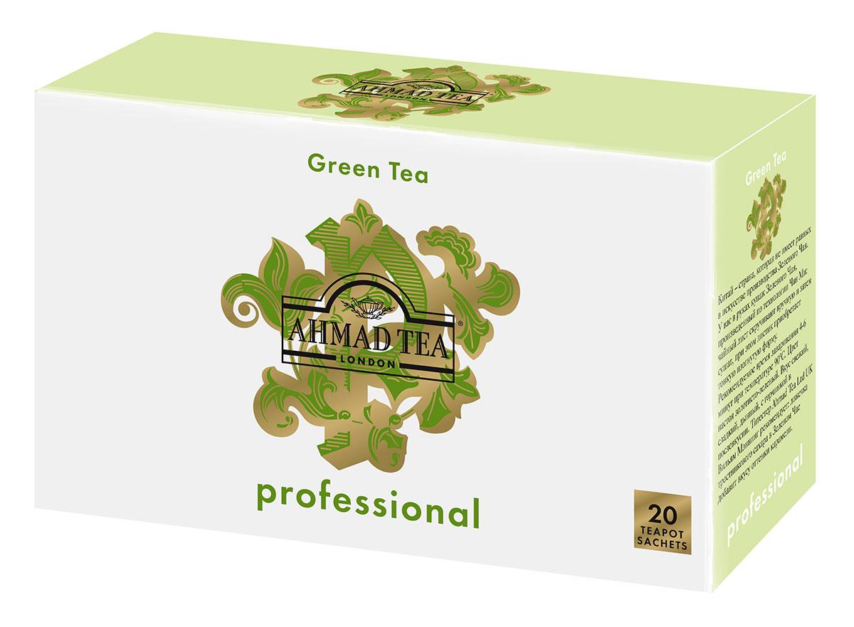 Ahmad Tea Professional Зеленый листовой чай в фильтр-пакетах для заваривания в чайнике, 20 шт101246Китай – страна, которая не имеет равных в искусстве производства зеленого чая. У вас в руках купаж зеленого чая, произведенный по технологии Чан Ми: чайный лист скручивают вручную и затем сушат, при этом листик приобретает тонкую изогнутую форму. Чай имеет свежий, сладкий, дынный вкус с горчинкой в послевкусии. Вильям Мэннинг рекомендует: ложечка тростникового сахара в зеленом чае добавит вкусу оттенки карамели.