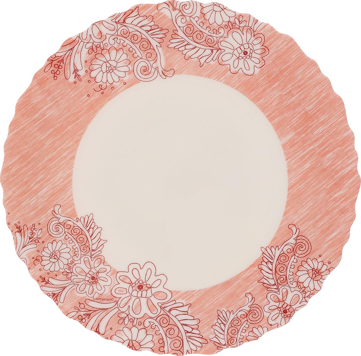 Тарелка десертная Luminarc Minelli, цвет: розовый, белый, диаметр 18,5 см115010Десертная тарелка Luminarc Minelli, изготовленная из ударопрочного стекла, декорирована ярким рисунком. Такая тарелка прекрасно подходит как для торжественных случаев, так и для повседневного использования. Идеальна для подачи десертов, пирожных, тортов и многого другого. Она прекрасно оформит стол и станет отличным дополнением к вашей коллекции кухонной посуды. Диаметр тарелки (по верхнему краю): 18,5 см.