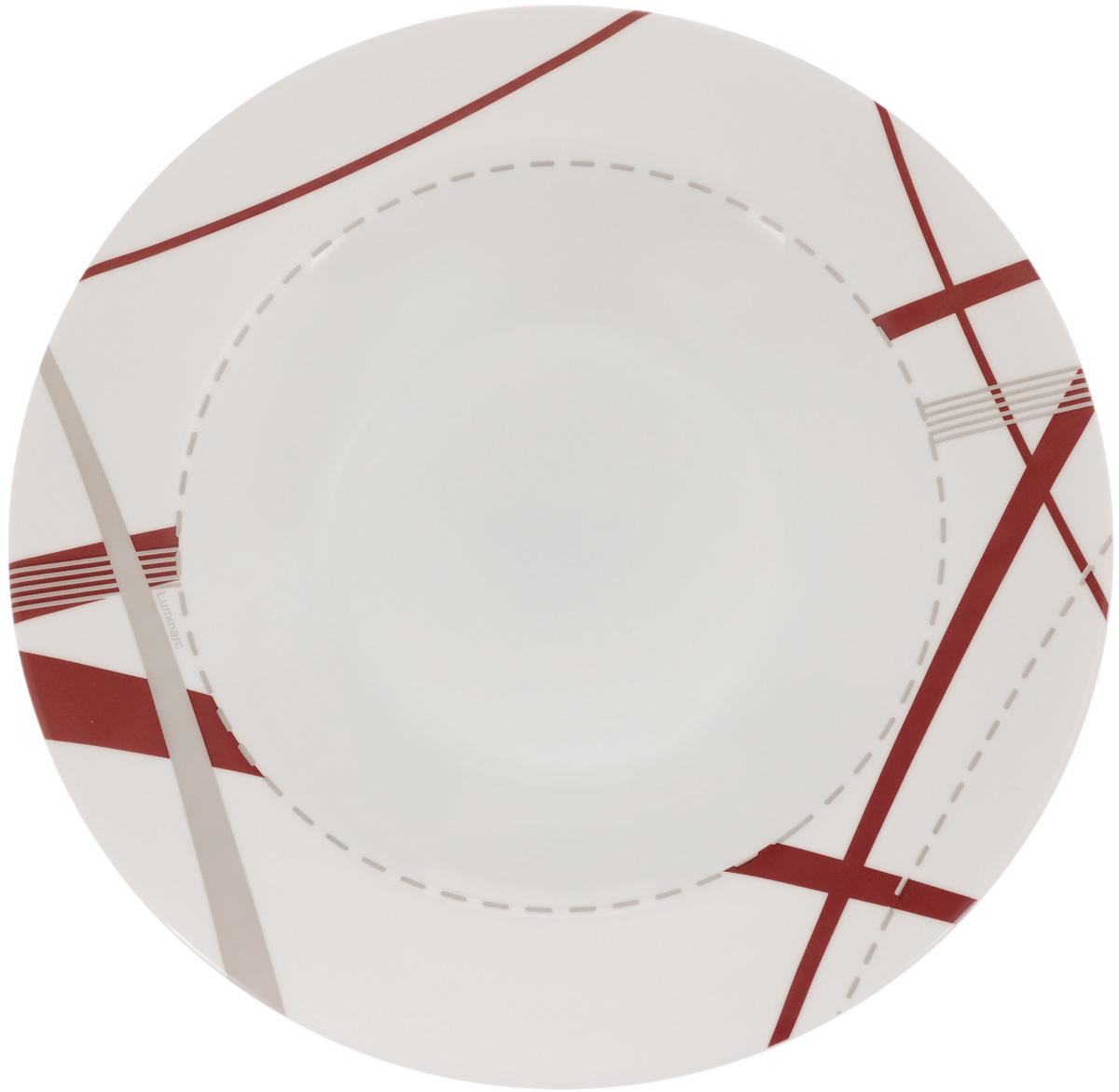 Тарелка глубокая Luminarc Couture, 23 х 23 см54 009312Глубокая тарелка Luminarc Couture выполнена изударопрочного стекла и оформлена рисунком.Изделие сочетает в себе изысканный дизайн с максимальнойфункциональностью. Она прекрасно впишется винтерьер вашей кухни и станет достойным дополнениемк кухонному инвентарю. Тарелка Luminarc Couture подчеркнет прекрасный вкус хозяйкии станет отличным подарком. Размер (по верхнему краю): 23 х 23 см.