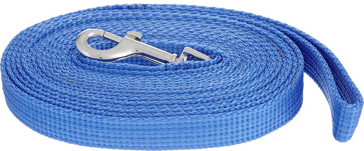 Поводок капроновый для собак Аркон, цвет: темно-голубой, ширина 2 см, длина 5 м поводок капроновый для собак аркон цвет синий ширина 2 см длина 1 м