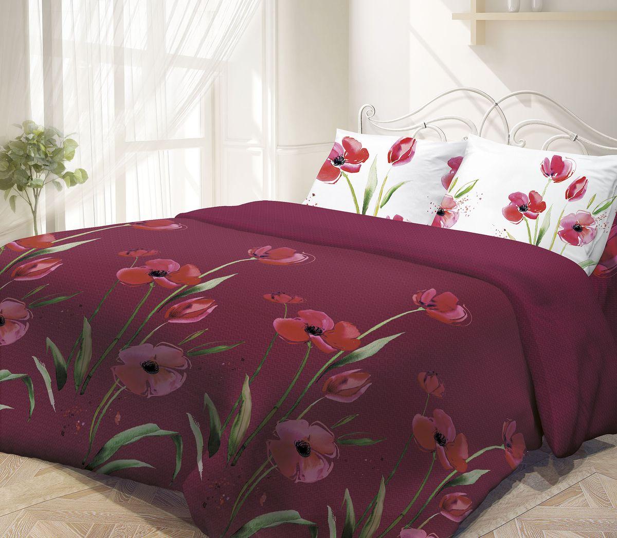 Комплект белья Гармония, 1,5-спальный, наволочки 50х70, цвет: белый, бордовыйCLP446Комплект постельного белья Гармония является экологически безопасным, так как выполнен из поплина (100% хлопка). Комплект состоит из пододеяльника, простыни и двух наволочек. Постельное белье оформлено изображением цветов и имеет изысканный внешний вид. Постельное белье Гармония - лучший выбор для современной хозяйки! Его отличают демократичная цена и отличное качество. Поплин мягкий и приятный на ощупь. Кроме того, эта ткань не требует особого ухода, легко стирается и прекрасно держит форму. Высококачественные красители, которые используются при производстве постельного белья, сохраняют свой цвет даже после многочисленных стирок.