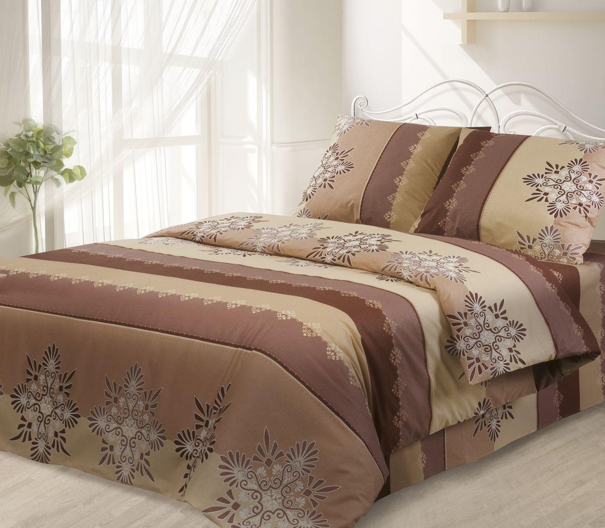 Комплект белья Гармония, 1,5-спальный, наволочки 50х70, цвет: коричневый391602Комплект постельного белья Гармония является экологически безопасным, так как выполнен из поплина (100% хлопка). Комплект состоит из пододеяльника, простыни и двух наволочек. Постельное белье оформлено красивым орнаментом и имеет изысканный внешний вид. Постельное белье Гармония - лучший выбор для современной хозяйки! Его отличают демократичная цена и отличное качество. Поплин мягкий и приятный на ощупь. Кроме того, эта ткань не требует особого ухода, легко стирается и прекрасно держит форму. Высококачественные красители, которые используются при производстве постельного белья, сохраняют свой цвет даже после многочисленных стирок.