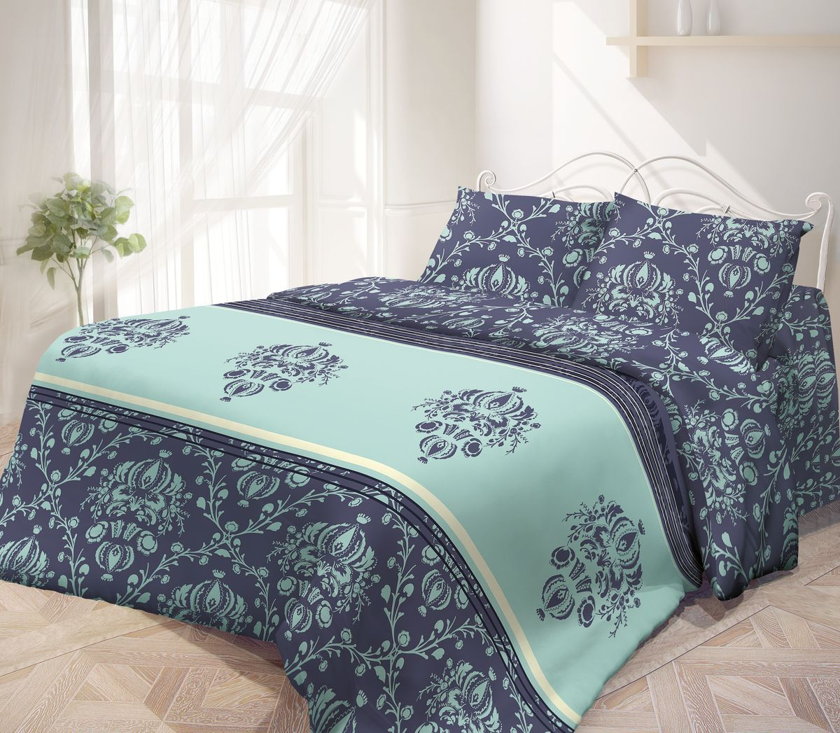 Комплект белья Гармония, 1,5-спальный, наволочки 50х70, цвет: темно-синий, голубой391602Комплект постельного белья Гармония является экологически безопасным, так как выполнен из поплина (100% хлопок). Комплект состоит из пододеяльника, простыни и двух наволочек. Постельное белье оформлено красивым орнаментом и имеет изысканный внешний вид. Поплин мягкий и приятный на ощупь. Кроме того, эта ткань не требует особого ухода, легко стирается и прекрасно держит форму. Высококачественные красители, которые используются при производстве постельного белья, сохраняют свой цвет даже после многочисленных стирок.Постельное белье Гармония - лучший выбор для современной хозяйки! Его отличают демократичная цена и отличное качество.