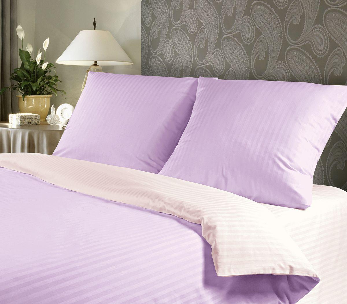 Комплект белья Verossa, 2-спальный, наволочки 70х70, цвет: сиреневый, белыйRC-100BWCСатин - настоящая роскошь для любителей понежиться в постели. Вас манит его блеск, завораживает гладкость, ласкает мягкость, и каждая минута с ним - истинное наслаждение.Тонкая пряжа и атласное переплетение нитей обеспечивают сатину мягкость и деликатность.Легкий блеск сатина делает дизайны живыми и переливающимися.100% хлопок, не электризуется и отлично пропускает воздух, ткань дышит.Легко стирается и практически не требует глажения.Не линяет, не изменяет вид после многочисленных стирок.