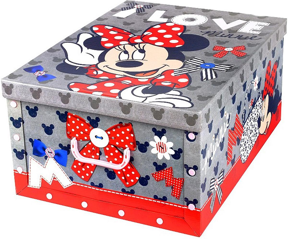 Коробка для хранения Disney Минни, 40 х 50 х 25 смS03301004Коробка для хранения Disney Минни, выполненная из высококачественного гофрированного картона, идеально подойдет для хранения игрушек, одежды, книг, канцелярских принадлежностей и других мелких предметов. Изделие легко собирается и не занимает много места. Коробка оснащена удобными ручками для транспортировки.Коробка Disney Минни поможет хранить все в одном месте, а также защитить вещи от пыли, грязи и влаги. Размер коробки (в собранном виде): 40 х 50 х 25 см.
