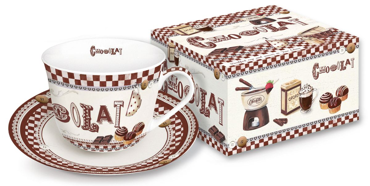 Чайная пара Nuova R2S Шоколадное фондю, 2 предмета115510Чайная пара Nuova R2S Шоколадное фондю состоит из чашки и блюдца, изготовленных из высококачественного фарфора. Изделия оформлены оригинальным изображением и имеют изысканный внешний вид.Такой набор прекрасно дополнит сервировку стола к чаепитию и подчеркнет ваш безупречный вкус. Объем чашки: 400 мл.