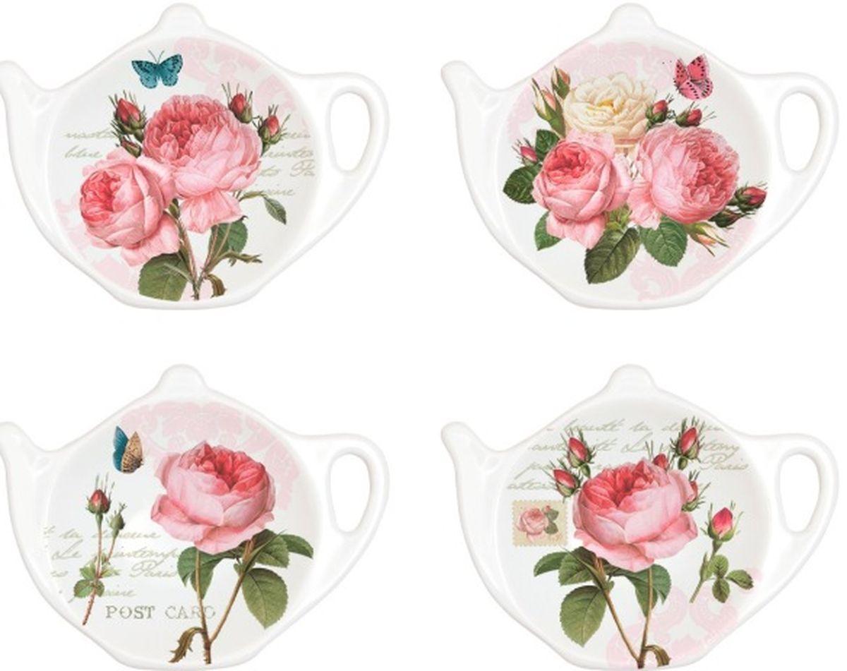 Набор подставок под чайные пакетики Nuova R2S Романтические розы, 4 шт319RMRПодставки под чайные пакетики Nuova Романтические розы выполнены из высококачественного фарфора. Изделие оформлено изображением роз. Изящные подставки не только красиво оформят стол к чаепитию, но и станут прекрасным подарком друзьям и близким.Размер подставки: 10,3 х 7,7 см.В наборе 4 штуки.