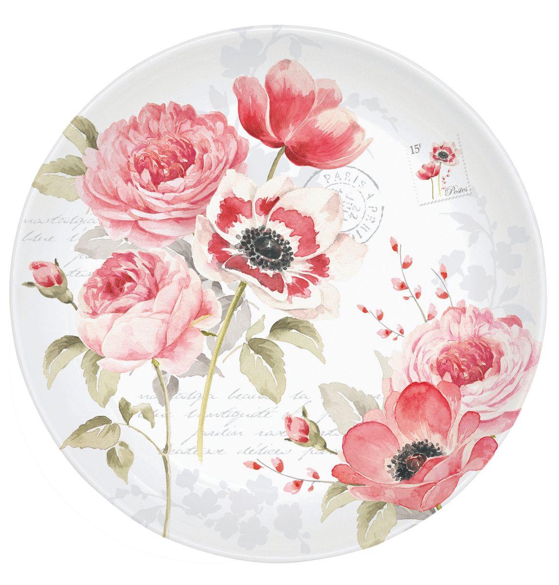 Блюдце Nuova R2S Пионы, диаметр 10 см115510Блюдце Nuova R2S Пионы выполнено из высококачественного фарфора. Изделие оформлено цветочным рисунком и надписями. Изящное блюдце не только красиво оформит стол к чаепитию, но и станет прекрасным подарком друзьям и близким.Диаметр блюдца: 10 см.