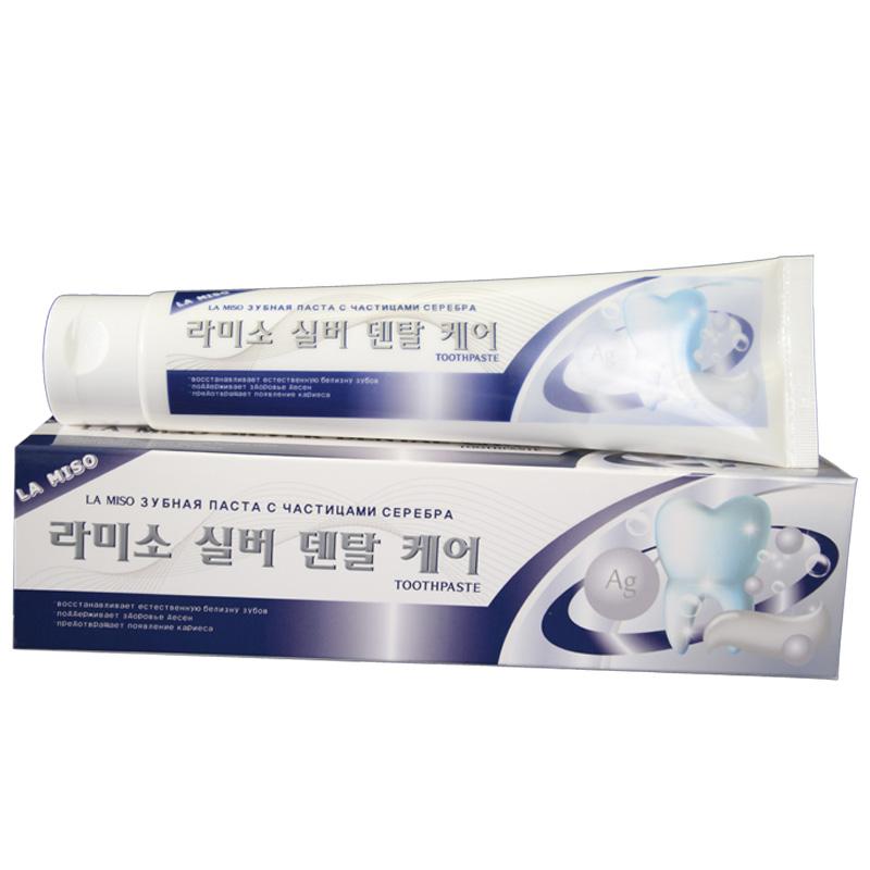 La Miso Зубная паста с частицами серебра Silver Dental Care Toothpaste, 150 г600033_красныйЗубная паста содержит специальные микрополирующие частицы, которые способствуют отбеливанию зубов и восстановлению их природной белизны, не травмируя зубную эмаль. Частицы серебра, обладающие антибактериальными свойствами, предотвращают появление кариеса и кровоточивости десен. Экстракты зеленого чая, алоэ вера и витамин Е оказывают благотворное влияние на состояние десен и мягких тканей, предотвращая воспалительные процессы.