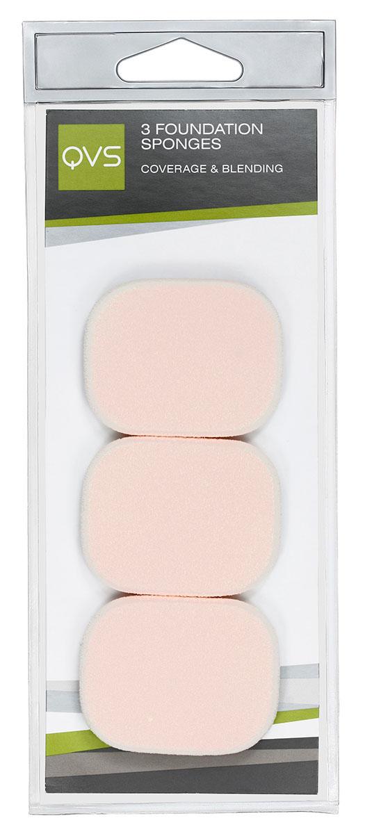 цена на QVS Спонжи запасные для нанесения основы макияжа любого типа ( кремообразной и водной ), 3 шт