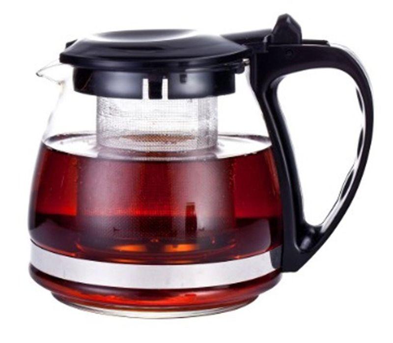 Чайник заварочный МФК-профит, с фильтром, цвет: черный, 700 млFS-91909Заварочный чайник МФК-профит предоставит вам все необходимые возможности для успешного заваривания чая. Он изготовлен из термостойкого стекла и оснащен крышкой и ручкой из пластика, также имеется вставка из нержавеющей стали. Чай в таком чайнике дольше остается горячим, а полезные и ароматические вещества полностью сохраняются в напитке. Чайник оснащен фильтром, который выполнен из нержавеющей стали. Простой и удобный чайник поможет вам приготовить крепкий, ароматный чай. Нельзя мыть в посудомоечной машине. Не использовать в микроволновой печи.Диаметр чайника (по верхнему краю): 7,5 см.Диаметр дна чайника: 9 см. Высота чайника (с учетом крышки): 11 см.Высота фильтра: 8 см.