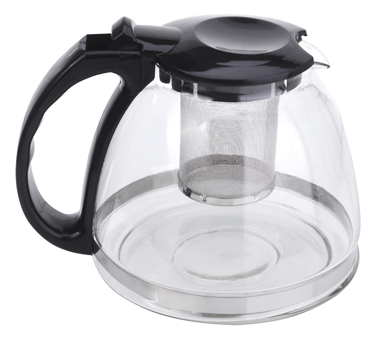 Чайник заварочный МФК-профит, с фильтром, цвет: черный, 1,3 л391602Заварочный чайник МФК-профит предоставит вам все необходимые возможности для успешного заваривания чая. Он изготовлен из термостойкого стекла и оснащен крышкой и ручкой из пластика, также имеется вставка из нержавеющей стали. Чай в таком чайнике дольше остается горячим, а полезные и ароматические вещества полностью сохраняются в напитке. Чайник оснащен фильтром, который выполнен из нержавеющей стали. Простой и удобный чайник поможет вам приготовить крепкий, ароматный чай. Нельзя мыть в посудомоечной машине. Не использовать в микроволновой печи.