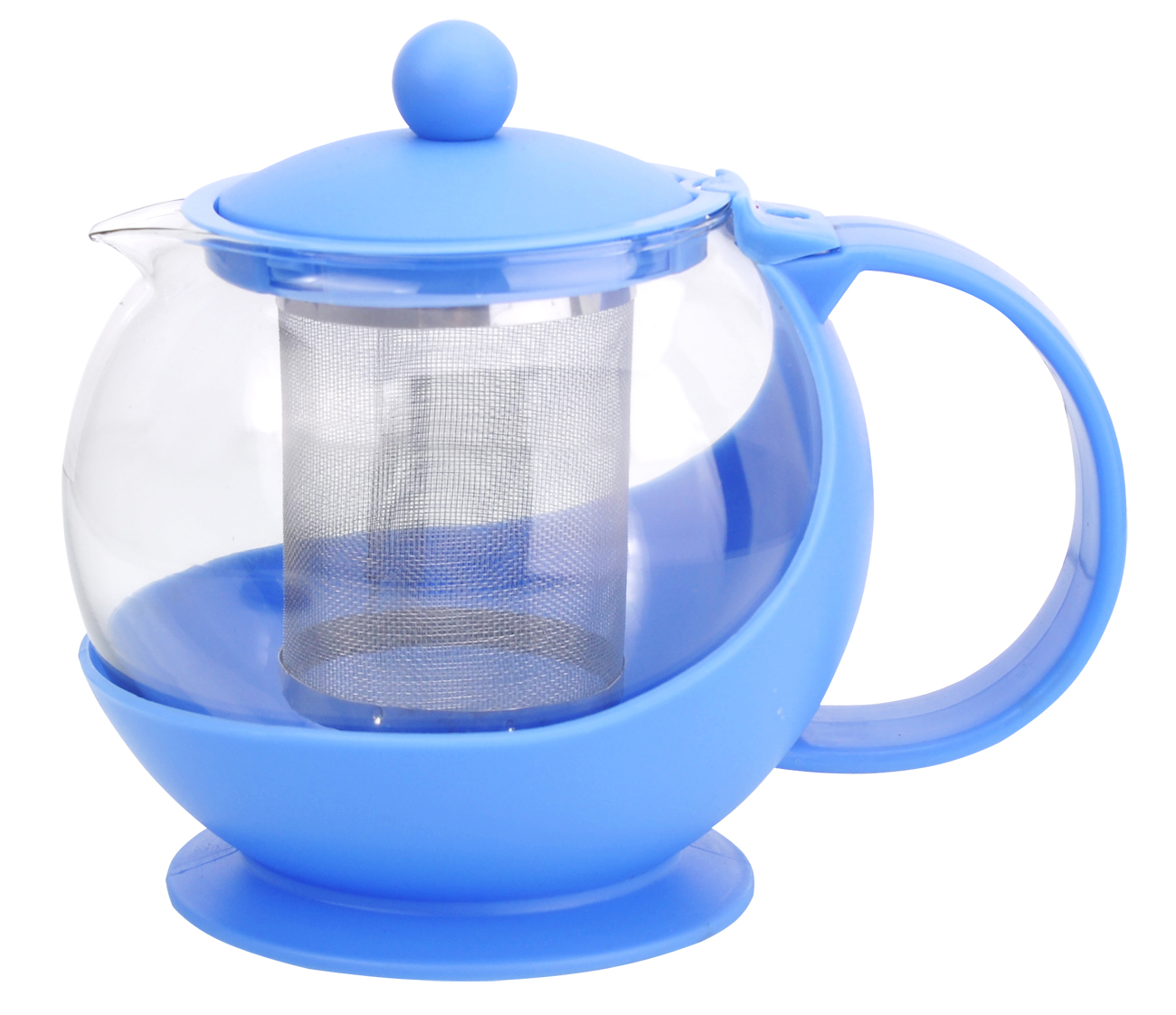 Чайник заварочный МФК-профит, с фильтром, цвет: голубой, 750 мл68/5/3Заварочный чайник МФК-профит предоставит вам все необходимые возможности для успешного заваривания чая. Он изготовлен из термостойкого стекла и оснащен крышкой и ручкой из пластика, также имеется вставка из нержавеющей стали. Чай в таком чайнике дольше остается горячим, а полезные и ароматические вещества полностью сохраняются в напитке. Чайник оснащен фильтром, который выполнен из нержавеющей стали. Простой и удобный чайник поможет вам приготовить крепкий, ароматный чай. Нельзя мыть в посудомоечной машине. Не использовать в микроволновой печи.