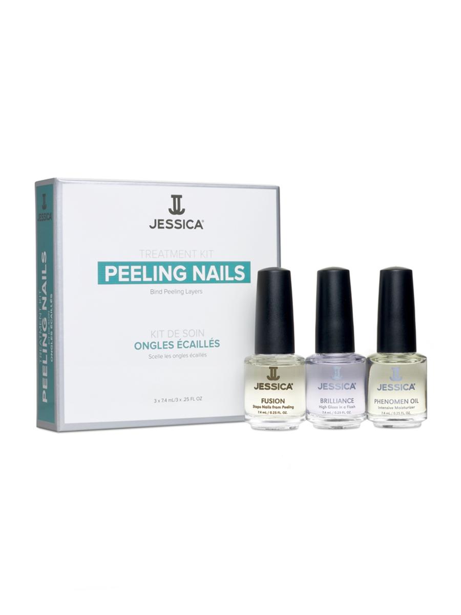 Jessica Набор для слоящихся ногтей Peeling Nail Kit (Mini) (Fusion + Brilliance + Phenomen Oil)FMS-101Помощь слоящимся ногтям. Результат - длинные, сильные ногти. Шаг за шагом: 1. FUSION. Каучуковые смолы деликатно сцепляют слои ногтевой пластины, предотвращая дальнейшее расслаивание. Витамины питают ногтевую пластину и способствуют росту здоровых ногтей. Способ применения: наносить на чистый сухой ноготь 8-10 мазками в 2 слоя, тщательно прокрашивая зону под ногтевой пластиной и торец. 2. BRILLIANCE. Придает непревзойденный стойкий блеск и визуальный объем лаковому покрытию. Способствует более быстрому просушиванию маникюра, усиливает сцепление слоев покрытия и защищает ногти от царапин, сколов, повреждений и выцветания. Нанести на поверхность и торец ногтевой пластины 8-10 мазками. Для обновления маникюра, наносите 1 слой каждые 3-4 дня. 3. PHENOMEN OIL. Средство содержит миндальное, рисовое и заживляющее масло жожоба. Использовать ежедневно.