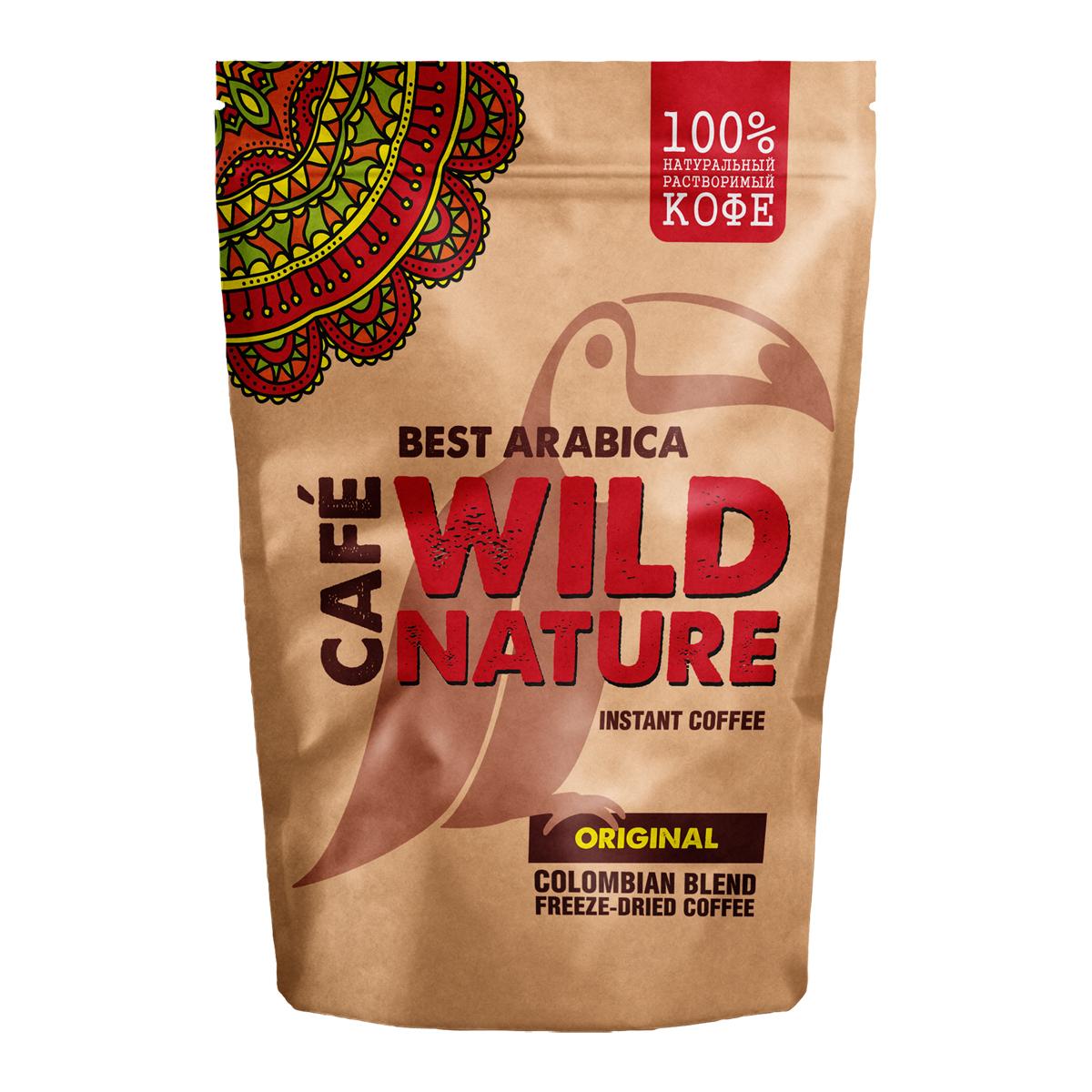 Wild Nature Original кофе растворимый, 75 г0120710Wild Nature Original - это нежный, но плотный и насыщенный кофе, полностью сохранивший мягкий и сбалансированный вкус лучших сортов Колумбийских Арабики.