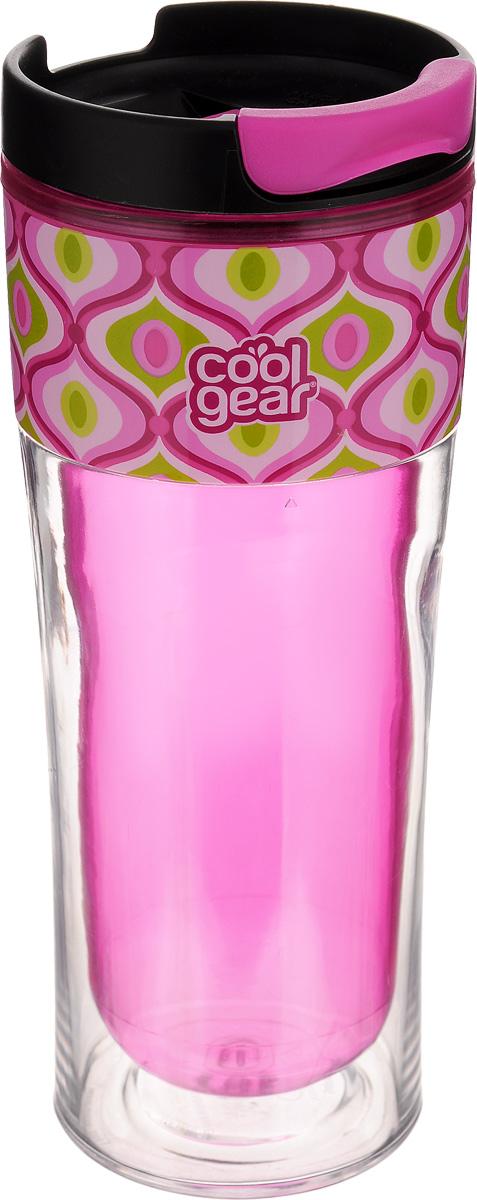 Кружка дорожная Cool Gear Razor, для горячих напитков, цвет: розовый, черный, 420 мл. 1283contigo0329Дорожная кружка Cool Gear Razor изготовлена из высококачественного BPA-free пластика, не содержащего токсичных веществ. Двойные стенки дольше сохраняют напиток горячим и не обжигают руки. Надежная закручивающаяся крышка с защитой от проливания обеспечит дополнительную безопасность. Крышка оснащена клапаном для питья. Оптимальный объем позволит взять с собой большую порцию горячего кофе или чая. Идеально подходит для холодных напитков. Оригинальный дизайн, яркие, жизнерадостные цвета и эргономичная форма превращают кружку в стильный и функциональный аксессуар. Кружка идеальна для ежедневного использования. Она станет вашим неотъемлемым спутником в длительных поездках или занятиях зимними видами спорта. Не рекомендуется использовать в микроволновой печи и мыть в посудомоечной машине.Диаметр кружки по верхнему краю: 8 см.Высота кружки (с учетом крышки): 20,5 см.