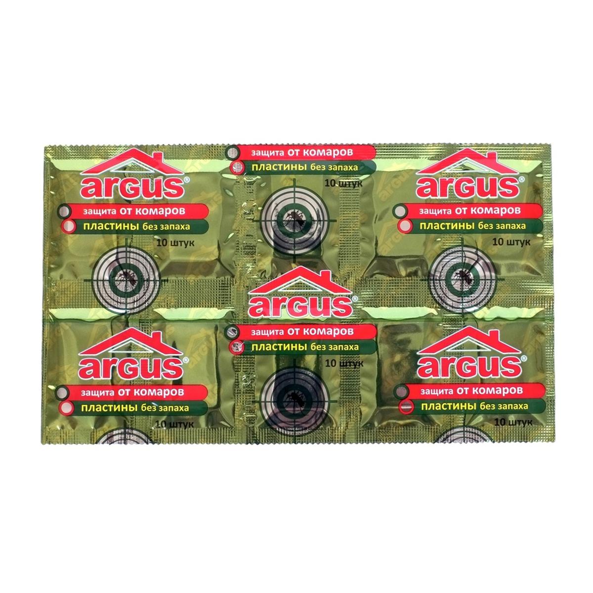 Пластины от комаров Argus, без запаха, 10 шт9103500790Пластины от комаров Argus могут быть использованы многократно, для дальнейшего использования их следует хранить в упаковке. Полная гибель комаров в закрытых помещениях достигается за 15-20 минут в зависимости от площади помещения. Применение одной пластины рассчитано до 8-10 часов в непрерывном режиме работы в помещении площадью до 30 м2. Обесцвечивание пластины является показателем окончания срока действия.Состав: ДВ-эсбиотрин, стабилизатор, краситель.