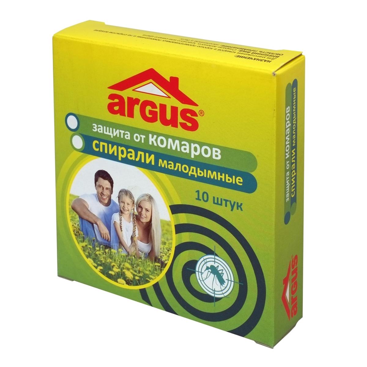 Спирали от комаров Argus, малодымные , 10 шт870334Малодымные спирали Argus предназначены для уничтожения комаров и других летающих насекомых (мошки, мокрецы, москиты) на открытом воздухе (сад, приусадебный участок, беседка, открытая терраса, веранда) в присутствии взрослых людей, а так же в закрытых помещениях в отсутствии людей.Тление спирали сопровождается выделением незначительного количества дыма. Резерв спирали весом в 13 г - 7 часов. Гибель комаров в помещении начинается через 1-2 минуты и достигает 100% через 10-15 минут.Состав: действующее вещество - d-аллетрин 0,2%, краситель, окислитель, консервант.