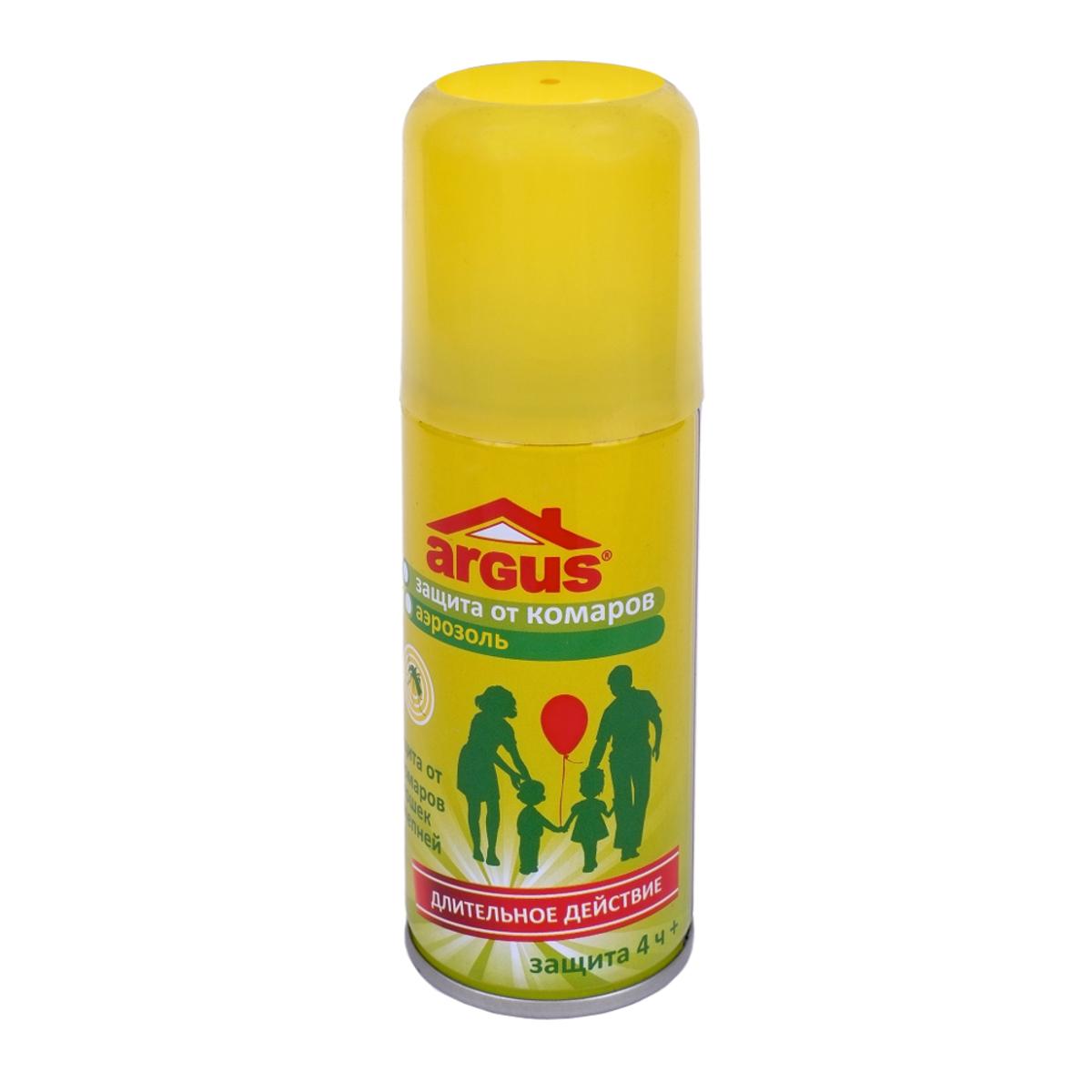 Аэрозоль против насекомых Argus, 100 мл787502Аэрозоль Argus предназначен для защиты людей от кровососущих насекомых (комаров, мошек, слепней, мокрецов, москитов, блох) при нанесении на открытые части тела и на одежду. Класс эффективности - высший. Время защитного действия при нанесении на кожу составляет более 4 часов даже при высокой численности насекомых, при нанесениии на одежду и изделия из ткани - до 20 суток.Состав: N,N-диэтилтолуамид 18%, пропиленгликоль, отдушка, углеводородный пропеллент, спирт изопропиловый. Не содержит озоноразрушающих хладонов.