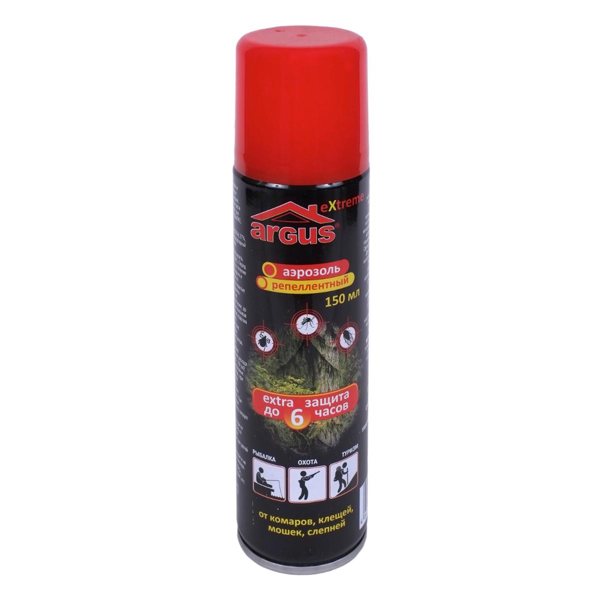 Аэрозоль репеллентный против насекомых Argus, 150 мл155 4часаРепеллентный аэрозоль Argus применяется для защиты людей от нападения кровососущих насекомых (комаров, мокрецов, москитов, мошки, слепней) при нанесении на открытые части тела. Изделие идеально подойдет для защиты от насекомых в экстремальных условиях: на рыбалке, охоте, отдыхе, в лесу, в тайге, в горах, в районах с повышенной влажностью. Действие продолжается до 6 часов.Состав: N,N-диэтилтолуамид (ДЭТА) 27%, пропиленгликоль, отдушка, углеводородный пропеллент, спирт изопропиловый.