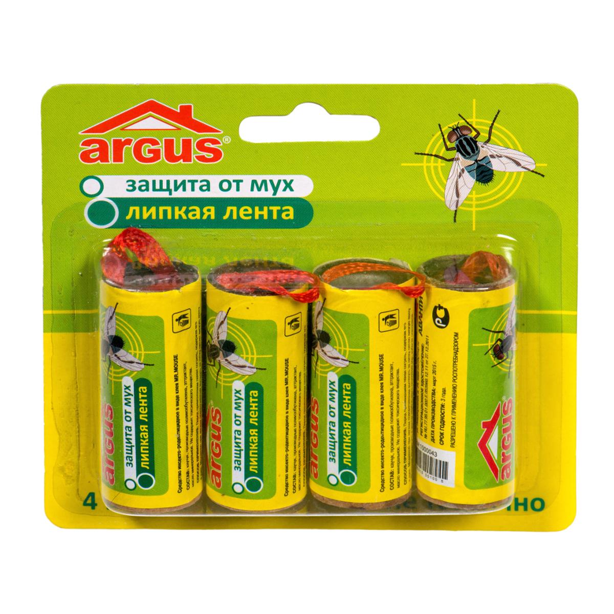 Липкая лента от мух Argus, 4 штCLP446Липкая лента Argus - это удобное и простое в использовании средство, которое надежно защитит вас и вашу семью от мух в закрытом помещении или значительно снизит их количество на открытом воздухе. Специальный аттрактант является привлекательной приманкой для мух, что делает липкие ленты Argus наиболее эффективными. Не содержит веществ, опасных для людей и домашних животных. Для помещения площадью 10 м2 требуется 2-3 липучки.Состав: каучук, производные полиизобутилена, аттрактант, масло минеральное.