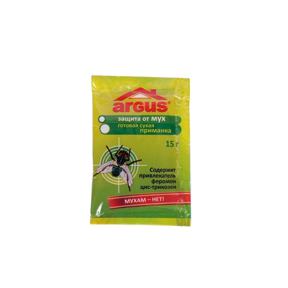 Средство от мух Argus, приманка, 15 гS03301004Приманка Argus предназначена для уничтожения мух. Изделие содержит привлекательный феромон цис-трикозен. Приманка раскладывается на подложки из расчета 6 штук на 10 м2 в местах наибольшего скопления мух. Рекомендуется разместить вблизи источников света.Состав: метомил 1%, половой феромон цис-трикозен 0,25%, битрекс, краситель, сахар.