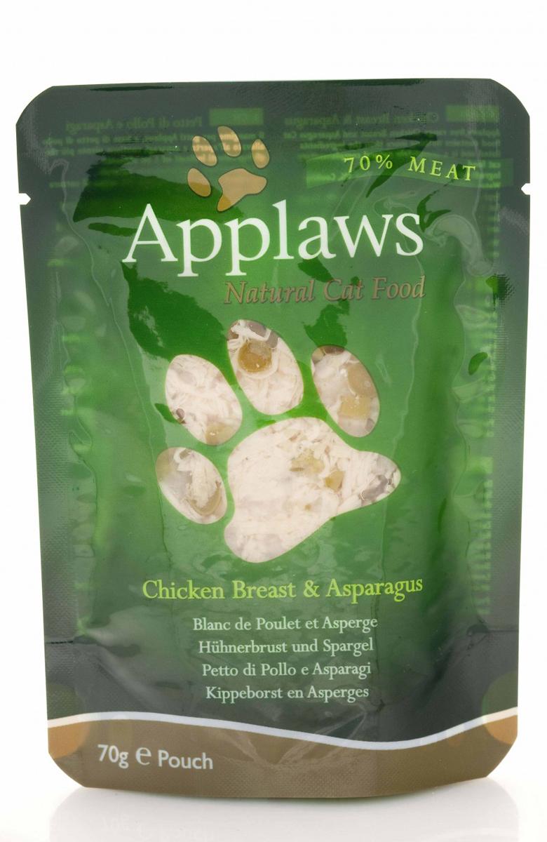 Консервы для кошек Applaws, с курицей и спаржей, 70 г101246Консервы для кошек Applaws - это настоящее удовольствие для кошек. Нежное мясо в собственном бульоне с лакомой добавкой. Ламинированная упаковка из пищевой фольги прекрасно сохраняет все вкусовые качества рецепта. Продукт не содержит ГМО, синтетических добавок, усилителей вкуса и красителей. Applaws - все только натурально, ничего лишнего! Состав: филе куриной грудки 70%, куриный бульон 24%, спаржа 5%, рис 1%.Гарантированный анализ: белок 19%, жиры 0,3%, зола 0,7%, клетчатка 0,2%, влага 78%.Товар сертифицирован.