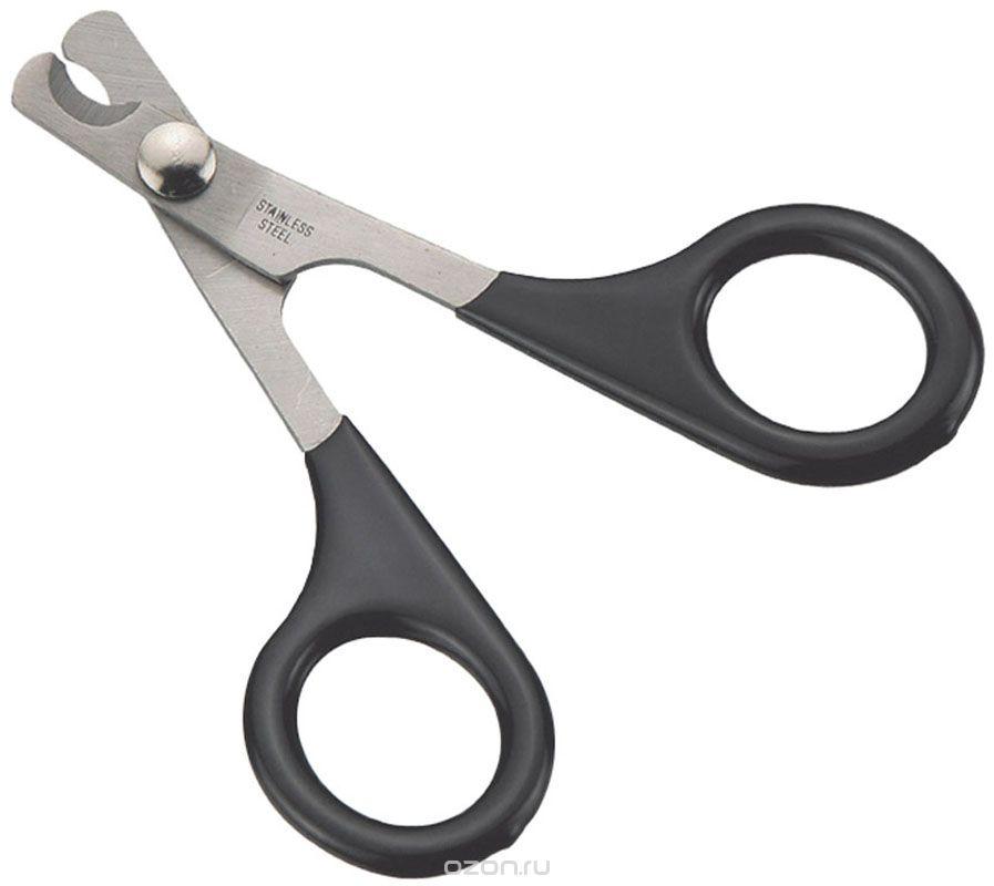Когтерез-ножницы V.I.Pet, цвет: черный0120710Когтерез-ножницы V.I.Pet с загнутыми лезвиями предназначены для кошек, кроликов и птиц. Ножницы изготовлены из высококачественной нержавеющей стали, что обеспечивает долгий срок службы. Лезвия двойной заточки позволяют точно отрезать, а пластиковое покрытие ручек делает комфортным использование. Инструкция: 1.крепко держите лапу животного во время стрижки. 2.отстригите кончик когтя, при этом не повредите кровеносные сосуды когтя. 3.если коготь длинный, следует подстригать самый кончик когтя, повторяя процедуру каждые 7-10 дней, пока когти не достигнут нужной длины. 4.после стрижки когтей, используйте пилку для окончательной обработки. Длина ножниц: 9 см.