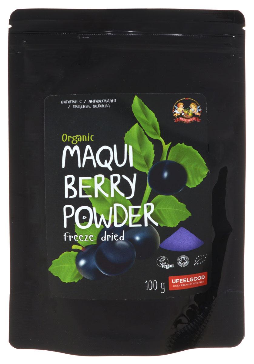 UFEELGOOD Organic Maqui Berry Powder органические ягоды макью молотые, 100 г0120710Ягоды чилийской Макью растут в дикой природе в нетронутой области Патагония в Южном Чили. Здесь индейцы на протяжении столетий употребляли в пищу ягоды для того, чтобы получить заряд сил и выносливости. Ягоды Макью имеют один из самых высоких уровней содержания антиоксидантов из всех известных фруктов, они придают напитку насыщенный, пурпурный цвет.Ягоды сублимируют, чтобы сохранить их действие и ферментную активность, позволяющие им улучшать метаболизм, укреплять иммунитет и заряжать энергией. Насыщенный пурпурный пигмент этих изумительных ягод свидетельствует о наличии антоцианов и полифенолов, мощной группы антиоксидантов, которые защищают организм от окислительного стресса.Высушенные ягоды макью измельчают в порошок, который сохранил в себе все богатство минералов, белков, витаминов и пищевых волокон. Порошок Макью способствует:Поддержке нервной системыУскорению метаболизмаНейротрансмиссииЗдоровому пищеварениюХорошей свертываемости кровиНормализации кровяного давленияПоддержка иммунной системыНормализует когнитивные функции
