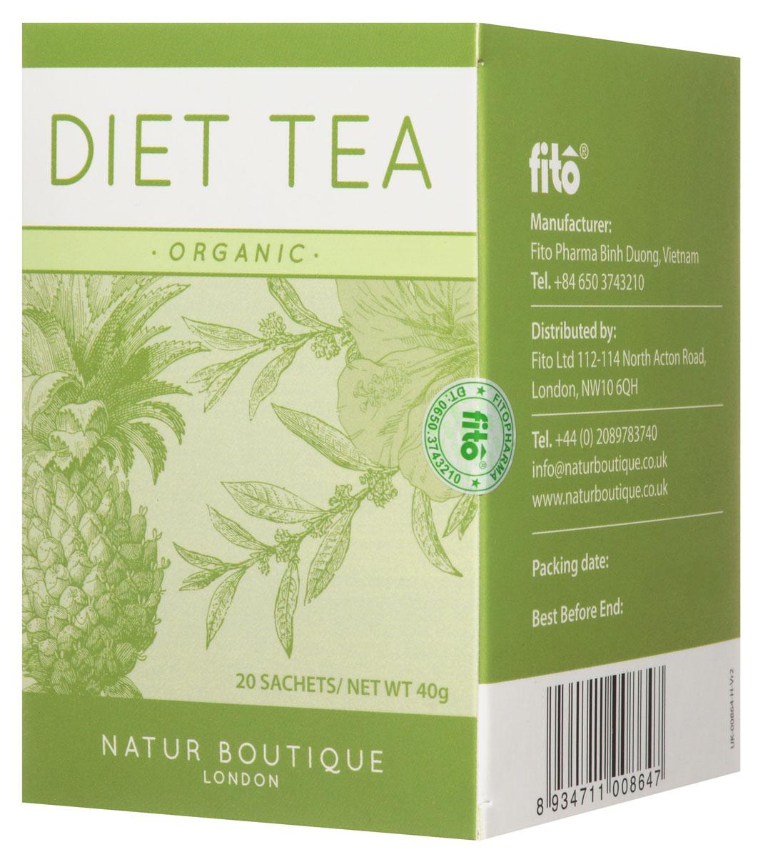 Natur Boutique Diet Organic Tea органический чай диетический, 20 пакетиковTB 1806-50Зеленый чай Natur Boutique Diet Organic Tea помогает похудеть за счет ускорения обмена веществ, регулирования уровня глюкозы, снижения аппетита и улучшения сжигания жиров. Ортосифон имеет мягкое калийсберегающее мочегонное действие, и, таким образом, способствует безопасному похудению. Ананас, благодаря содержанию бромелайна, ускоряет обмен веществ, выводит из организма токсины, делает мочегонное и противовоспалительное действие.Гибискус (каркаде) обладает антиоксидантным, мягким мочегонным и слабительным действием, а также укрепляет сосуды и нормализует пищеварение. Состав: органический зеленый чай, трава органического ортосифона, плоды органического ананаса, цветы органического гибискуса.Органический чай на основе зеленого чая, ортосифона, ананаса и гибискуса удивит приятным фруктовым вкусом и поможет на пути к стройной фигуре. Все растения, входящие в состав чая, выращены без использования синтетических пестицидов и минеральных удобрений на лучших плантациях Вьетнама.