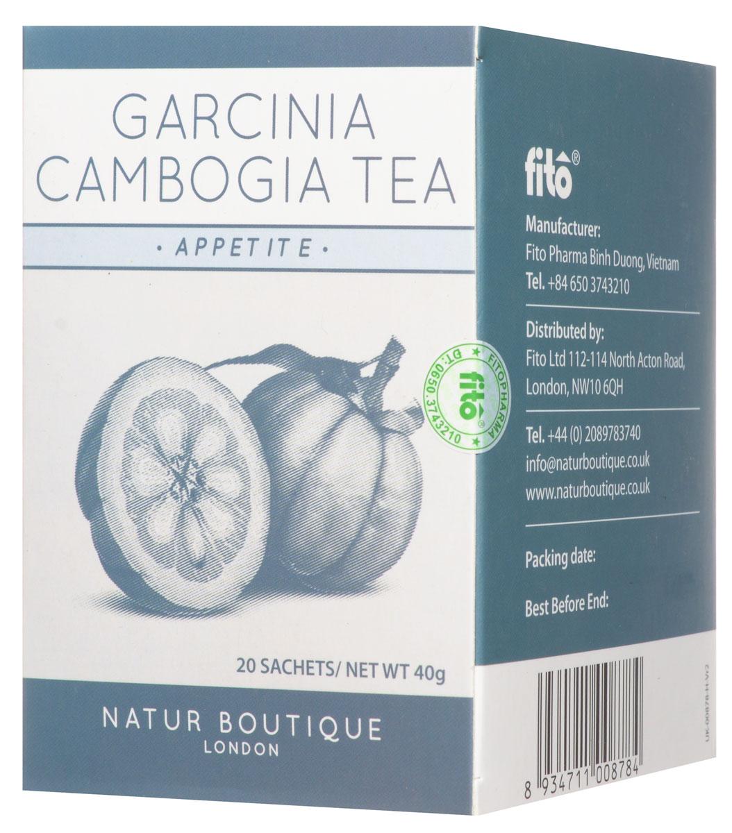 Natur Boutique Garcinia Cambogia Organic Tea органический чай с гарцинией камбоджийской, 20 пакетиков258Гарциния камбоджийская - цитрус, который применяется для похудения и понижения аппетита. Чай Natur Boutique Garcinia Cambogia Organic Tea из гарцинии камбоджийской содержит особые вещества, которые препятствуют жировым отложениям. Употребление этого чая после еды препятствует скоплению излишков жира в организме.