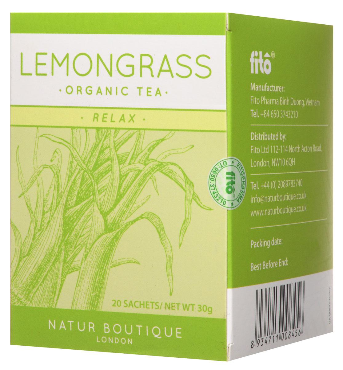 Natur Boutique Lemongrass Organic Tea органический чай лемонграсс, 20 пакетиков101246Оригинальный вкус органического чая Natur Boutique Lemongrass Organic Tea доставит удовольствие каждому ценителю экзотических чайных ароматов. А еще полезен для здоровья в куда большей степени, нежели обыкновенный, даже самый дорогой элитный чай, поскольку выращен и собран без применения химических удобрений и промышленных технологий. Соответственно, на его листьях не оседают вредные примеси.Чай Natur Boutique Lemongrass, выращен на плантациях Южного Вьетнама. При выращивании лимонной травы (а именно так переводится lemongrass), а также бананов, папайи, куркумы на этих землях полностью исключено использование пестицидов, в качестве естественного удобрения выступает речной ил, помет птиц и летучих мышей.Чай Natur Boutique Lemongrass Organic Tea - тонизирующий, расслабляющий и просто вкусный. Он имеет легкий пряно-цитрусовый аромат. Его можно заваривать как самостоятельный напиток или добавлять в любой другой чай, черный или зеленый. В готовый чай можно добавлять мёд или сахар по вкусу, мяту, имбирь. Важно: как и зеленый чай, лемонграсс заваривается кипяченой водой температурой не выше 80°С.Этот вкусный ароматный чай чрезвычайно полезен для здоровья. Во-первых, его регулярное употребление – отличная профилактика простудных заболеваний, ларингитов, синуситов. Во - вторых, лемонграсс благотворно влияет на обмен веществ, улучшает пищеварение. Он не содержит кофеина, оказывает тонизирующее воздействие, укрепляет сосуды и способствует разжижению крови.Купить чай Natur Boutique Lemongrass – значит, приобрести природный антидепрессант, не содержащий кофеина и при этом эффективно помогающий взбодриться с утра на весь день. Особенно интерес лемонграсс представляет для кормящих матерей – как продукт, способствующий улучшению лактации.