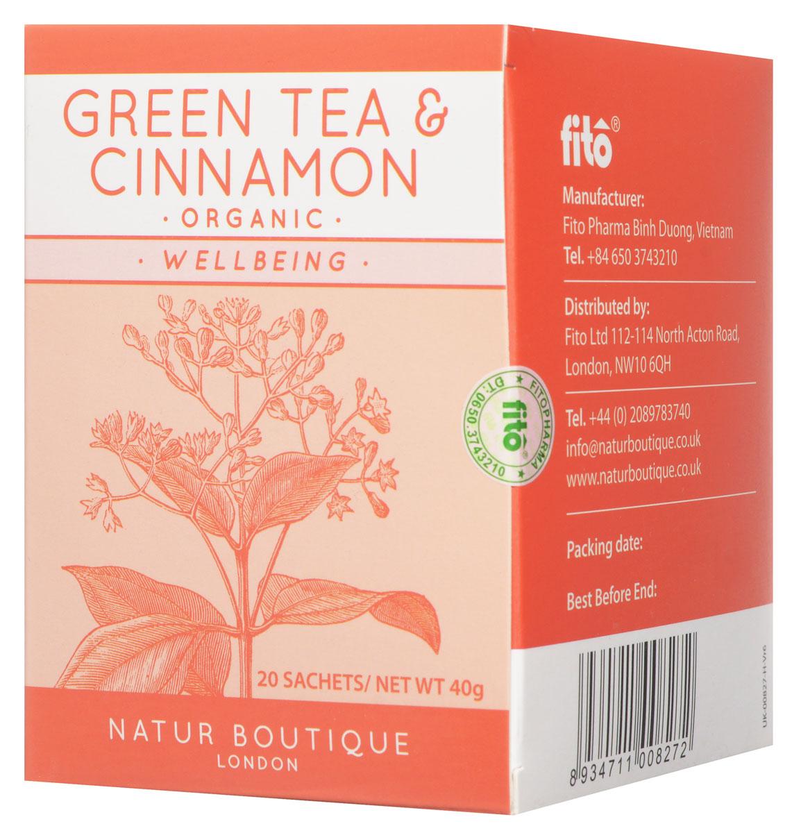 Natur Boutique Green Tea&Cinnamon Organic Tea органический зеленый чай с корицей, 20 пакетиков255Секрет чая Natur Boutique Green Tea&Cinnamon Organic Tea не только в корице, но и в зеленом чае, который выращивают в высокогорных районах Вьетнама. Из-за большой высоты чай растет медленно, приобретая насыщенный вкус. Кроме того используются только натуральные методы выращивания. Для лучшего вкуса нежные бутоны и молодые листья собираются вручную.Чай Natur Boutique выращен без использования синтетических пестицидов и минеральных удобрений на лучших плантациях Севера Вьетнама. Благодаря высокогорному происхождению зеленый чай Natur Boutique обладает повышенным содержанием антиоксидантов. Собранные вручную трилистки (флеши) деликатно ферментированы и высушены для создания безукоризненного чая с насыщенным вкусом и ароматом.Полезные свойства зеленого чая:Повышает умственную и физическую работоспособностьТонизирует организмОбладает антиоксидантным действиемУскоряет обменные процессы, нормализует весКорица повышает настроение, оказывает антисептическое действие и активизирует пищеварение