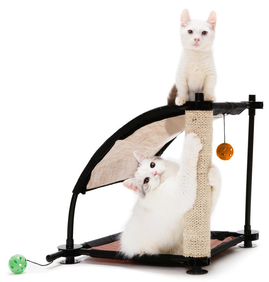 Игровой комплекс для кошек Kitty City Белая гора, 44 х 45 х 45 см0120710Игровой комплекс для кошек Kitty City Белая гора обязательно понравится вашему пушистому питомцу. Комплекс изготовлен из высокопрочных, устойчивых к повреждениям материалов. Каркас из пластиковых трубок удобно собирается и разбирается, облегчая транспортировку и хранение. На каркас натянут прочный текстиль. Имея форму горки, комплекс позволяет играть животным как в одиночестве, так и друг с другом. Устойчивая конструкция позволяет удобно разместиться двум кошкам, не стесняя друг друга. Комплекс открыт со всех сторон, и поэтому вы легко найдете для него место в доме. Прекрасно подходит как для игры, так и для отдыха. Когтеточка на долгое время отвлечет питомца от мягкой мебели и обоев, а подвесные игрушки в форме шариков смогут занять время кошки, пока она находится дома в одиночестве. Комплекс подходит для использования изолированно и в совокупности с другими игровыми комплексами Kitty City.