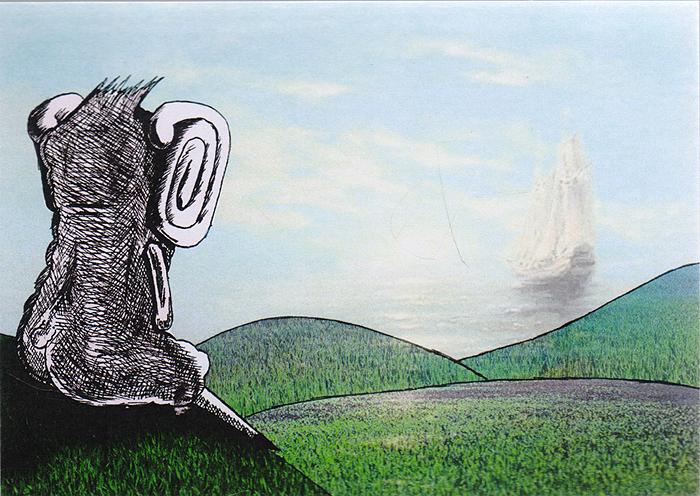 Открытка ОжиданиеБрелок для ключейДизайнерская открытка. На лицевой стороне изображение парусника. Набросок включает себя скетч и элементы компьютерной графики.Автор рисунка - Роман Рощин.Размер открытки: 10.5 х 15 см.