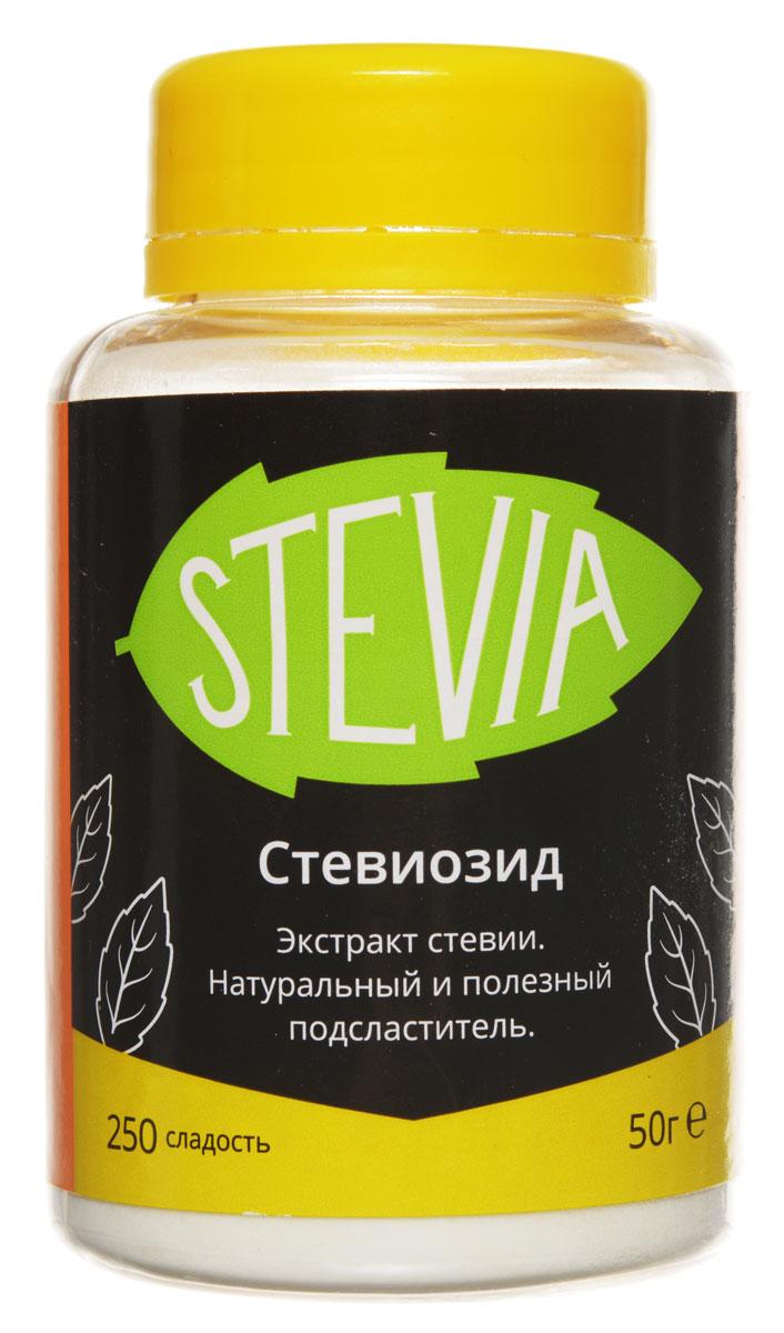 UFEELGOOD Stevia стевиозид молотый сладость 250, 50 г0120710Стевия UFEELGOOD - натуральный и полезный южноамериканский подсластитель, в 15 - 30 раз слаще сахара. Широкая популярность сладкой травы стевии объясняется содержанием в ее листьях значительного количества витаминов, аминокислот, микроэлементов. Она оказывает благотворное влияние на:Сердечно-сосудистую системуОрганы пищеваренияПечень и желчный пузырьИммунную системуЗубы и десныНа этом полезные свойства растения не заканчиваются. Как сахарозаменитель стевию рекомендуют диабетикам, поскольку она регулирует уровень содержания сахара в крови, влияет на уменьшения холестерина и радионуклидов и способствует выработке поджелудочной железой инсулина. Активно используют листья стевии и в косметологии при дерматите, экземе, порезах, ожогах. Растение помогает успешно бороться с лишним весом. Стевиозид - натуральный и полезный экстракт из листьев стевии слаще сахара с сотни раз. Он способен полностью удовлетворить вкус к сладкому.