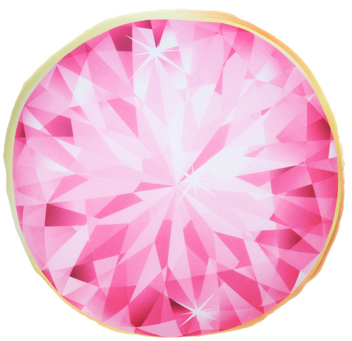 Подушка-антистресс Home Queen Диамант, круглая, цвет: розовый, желтый, 30 х 30 см1004900000360Круглая подушка-антистресс Home Queen Диамант - это не только лучший способ снять напряжение, но и оригинальный аксессуар для интерьера. Изделие пластичное и приятное на ощупь. Чехол из трикотажной ткани (15% полиуретан, 85% нейлон) оформлен ярким изображением алмаза. Внутри - антистрессовый полистироловый наполнитель. Подушка-антистресс - идеальный рецепт хорошего настроения и здорового сна! Она подарит тактильную радость и станет аккумулятором хорошего настроения.