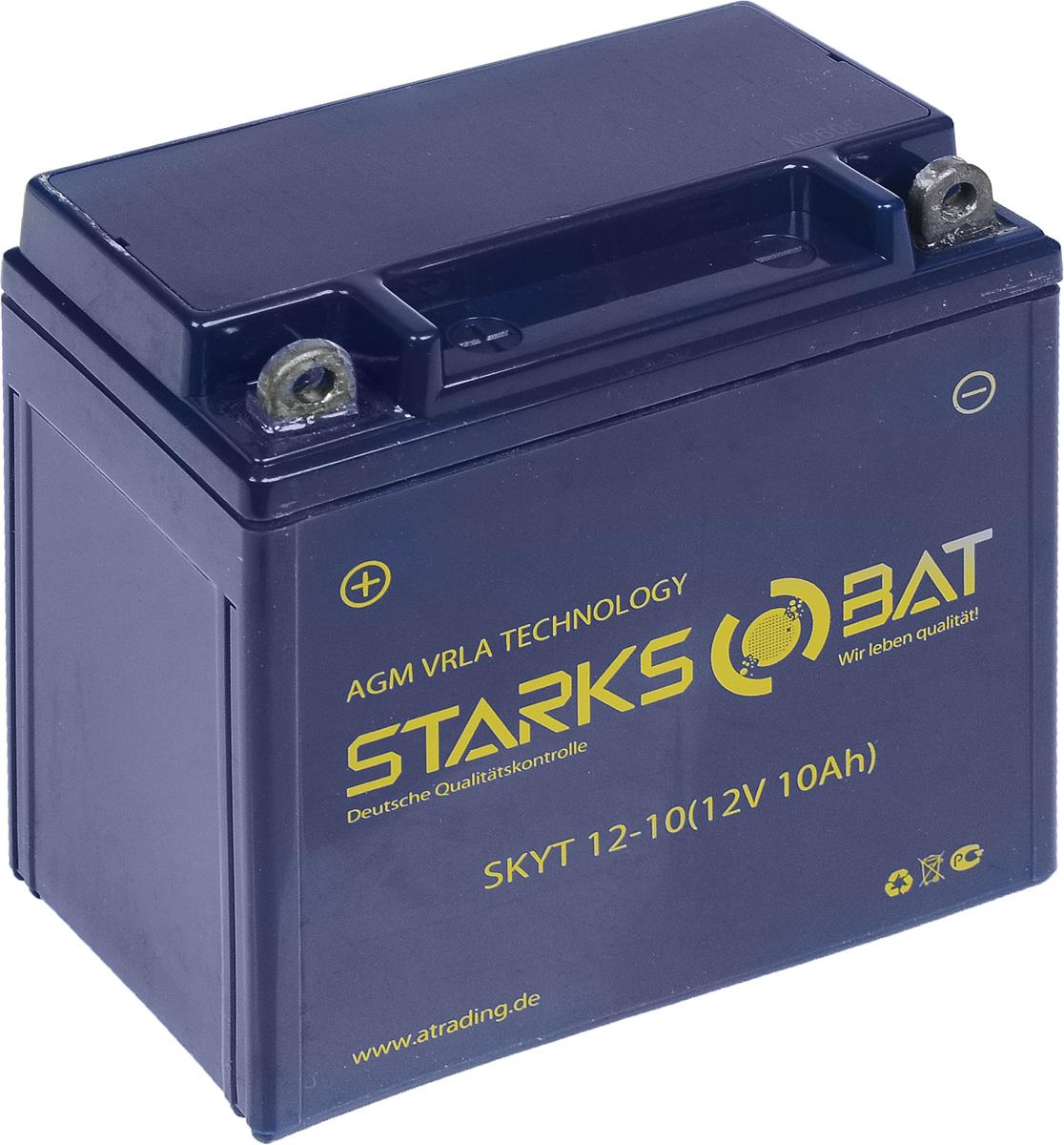 Батарея аккумуляторная для мотоциклов Starksbat. YT 12-10 (YB9A-A)10503Аккумулятор Starksbat изготовлен по технологии AGM, обеспечивающей повышенный уровень безопасности батареи и удобство ее эксплуатации. Корпус выполнен из особо ударопрочного и морозостойкого полипропилена. Аккумулятор блестяще доказал свои высокие эксплуатационные свойства в самых экстремальных условиях бездорожья, высоких и низких температур.Аккумуляторная батарея Starksbat производится под знаменитым немецким контролем качества, что обеспечивает ему высокие пусковые характеристики и восстановление емкости даже после глубокого разряда.Напряжение: 12 В.Емкость: 10 Ач.Полярность: прямая (+ -).Ток холодной прокрутки: 135 Аh (EN).