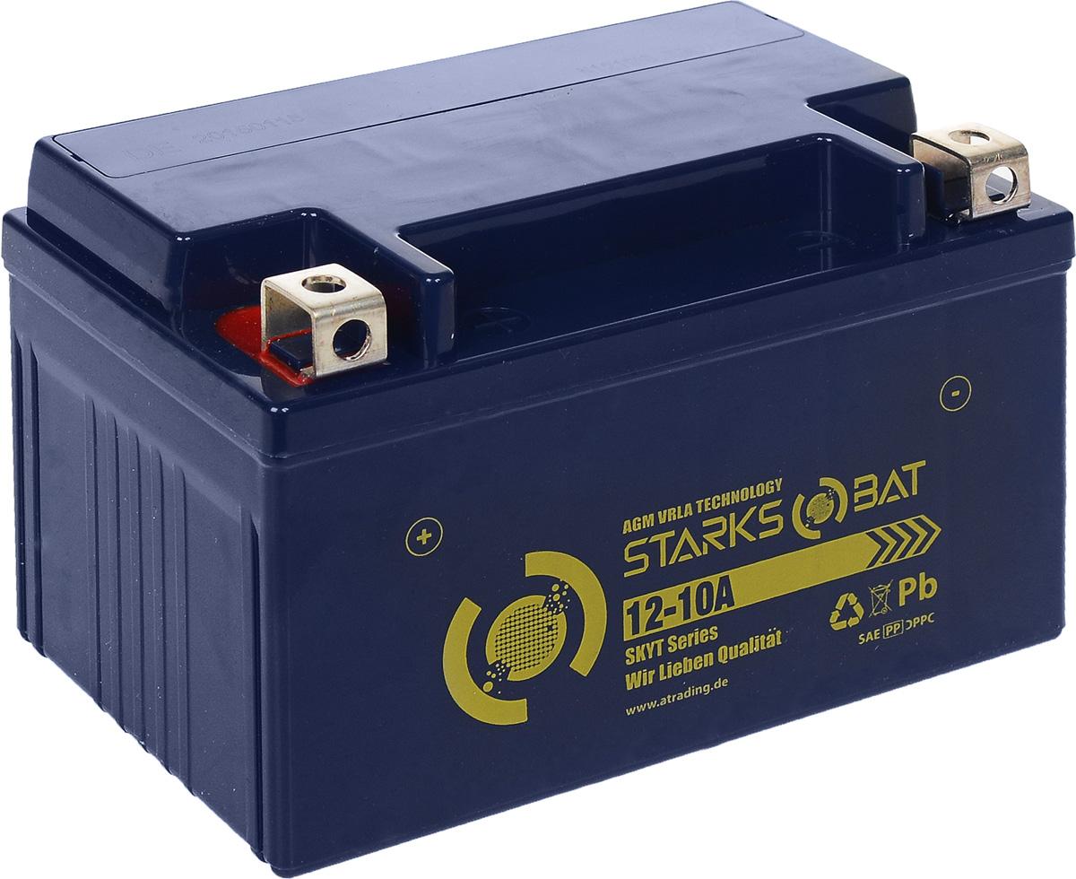 Батарея аккумуляторная для мотоциклов Starksbat. YT 12-10A (YTZ10S)80621Аккумулятор Starksbat изготовлен по технологии AGM, обеспечивающей повышенный уровень безопасности батареи и удобство ее эксплуатации. Корпус выполнен из особо ударопрочного и морозостойкого полипропилена. Аккумулятор блестяще доказал свои высокие эксплуатационные свойства в самых экстремальных условиях бездорожья, высоких и низких температур.Аккумуляторная батарея Starksbat производится под знаменитым немецким контролем качества, что обеспечивает ему высокие пусковые характеристики и восстановление емкости даже после глубокого разряда.Напряжение: 12 В.Емкость: 10 Ач.Полярность: прямая (+ -).Ток холодной прокрутки: 135 Аh (EN).