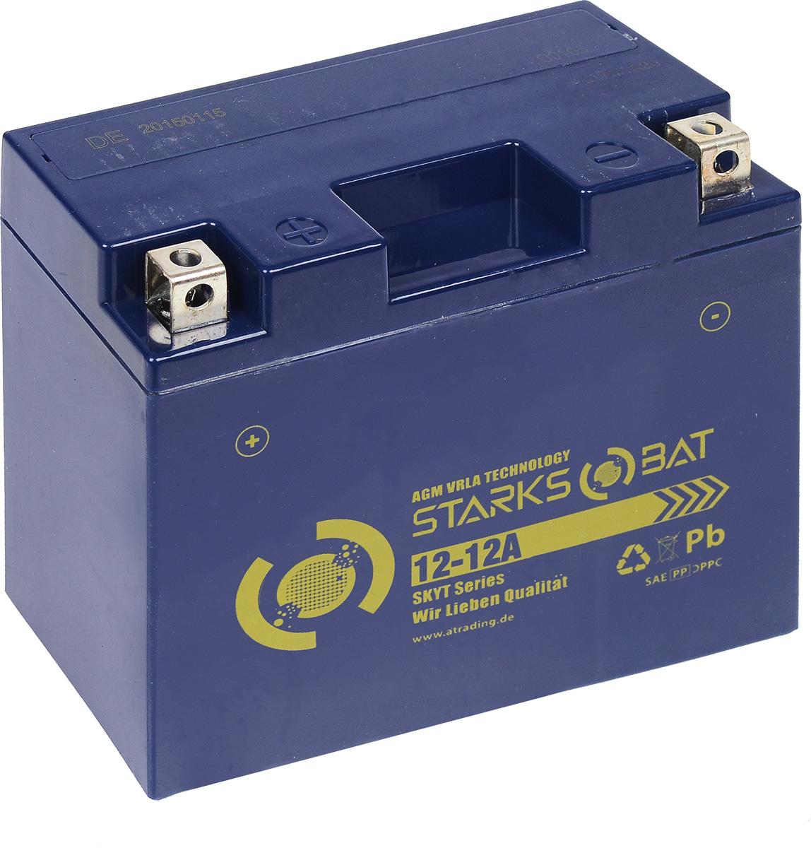 Батарея аккумуляторная для мотоциклов Starksbat. YT 12-12A (YT12B-BS)80621Аккумулятор Starksbat изготовлен по технологии AGM, обеспечивающей повышенный уровень безопасности батареи и удобство ее эксплуатации. Корпус выполнен из особо ударопрочного и морозостойкого полипропилена. Аккумулятор блестяще доказал свои высокие эксплуатационные свойства в самых экстремальных условиях бездорожья, высоких и низких температур.Аккумуляторная батарея Starksbat производится под знаменитым немецким контролем качества, что обеспечивает ему высокие пусковые характеристики и восстановление емкости даже после глубокого разряда.Напряжение: 12 В.Емкость: 12 Ач.Полярность: прямая (+ -).Ток холодной прокрутки: 155 Аh (EN).