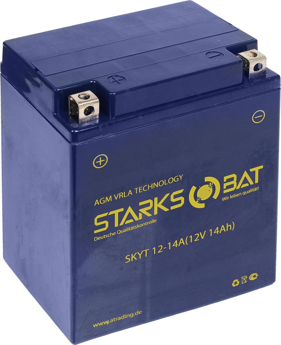 Батарея аккумуляторная для мотоциклов Starksbat. YT 12-14A (YB14A-A2)S03301004Аккумулятор Starksbat изготовлен по технологии AGM, обеспечивающей повышенный уровень безопасности батареи и удобство ее эксплуатации. Корпус выполнен из особо ударопрочного и морозостойкого полипропилена. Аккумулятор блестяще доказал свои высокие эксплуатационные свойства в самых экстремальных условиях бездорожья, высоких и низких температур.Аккумуляторная батарея Starksbat производится под знаменитым немецким контролем качества, что обеспечивает ему высокие пусковые характеристики и восстановление емкости даже после глубокого разряда.Напряжение: 12 В.Емкость: 14 Ач.Полярность: прямая (+ -).Ток холодной прокрутки: 180 Аh (EN).