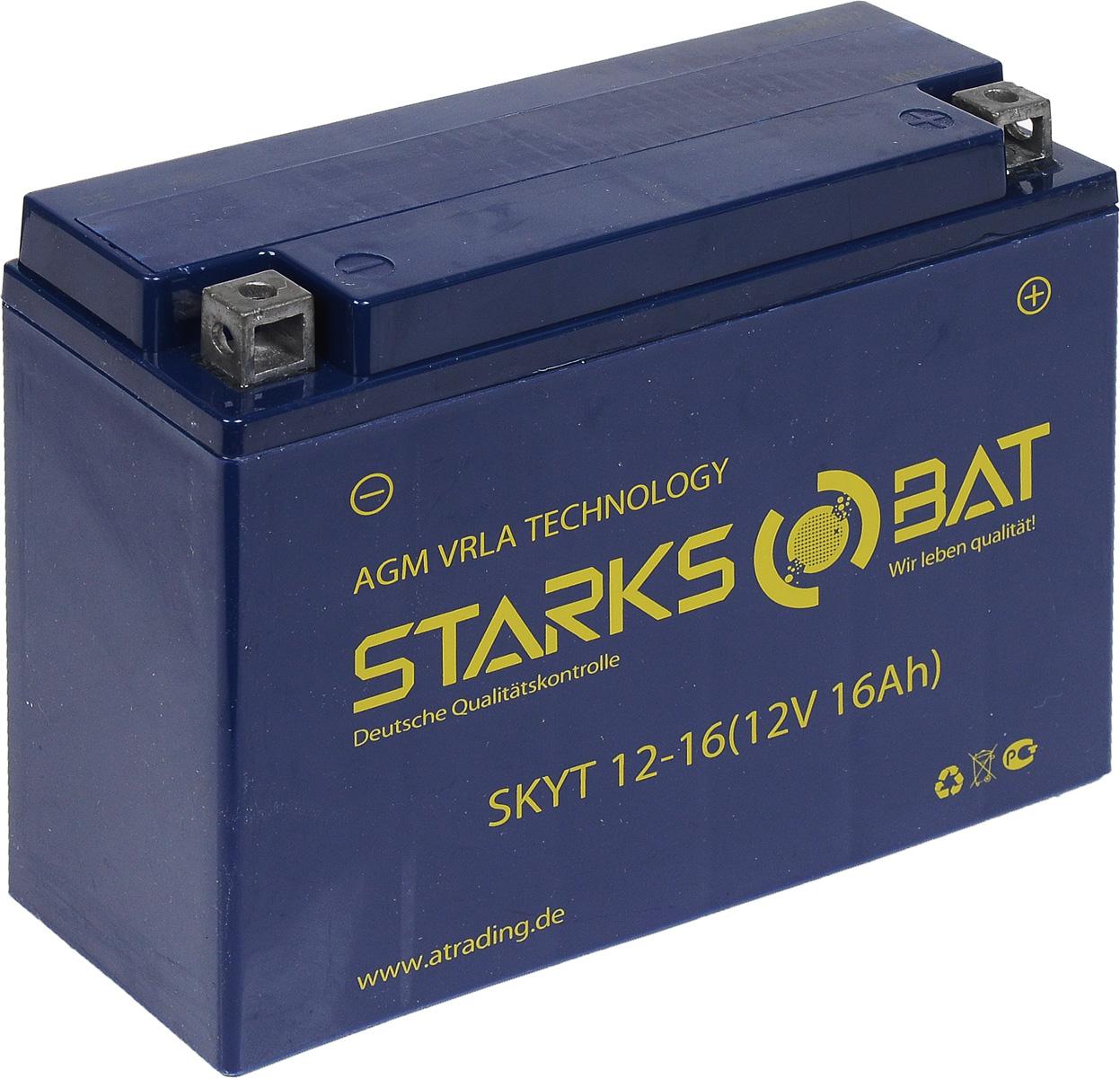 Батарея аккумуляторная для мотоциклов Starksbat. YT 12-16 (YB16AL-A2)S03301004Аккумулятор Starksbat изготовлен по технологии AGM, обеспечивающей повышенный уровень безопасности батареи и удобство ее эксплуатации. Корпус выполнен из особо ударопрочного и морозостойкого полипропилена. Аккумулятор блестяще доказал свои высокие эксплуатационные свойства в самых экстремальных условиях бездорожья, высоких и низких температур.Аккумуляторная батарея Starksbat производится под знаменитым немецким контролем качества, что обеспечивает ему высокие пусковые характеристики и восстановление емкости даже после глубокого разряда.Напряжение: 12 В.Емкость: 16 Ач.Полярность: обратная (- +).Ток холодной прокрутки: 200 Аh (EN).